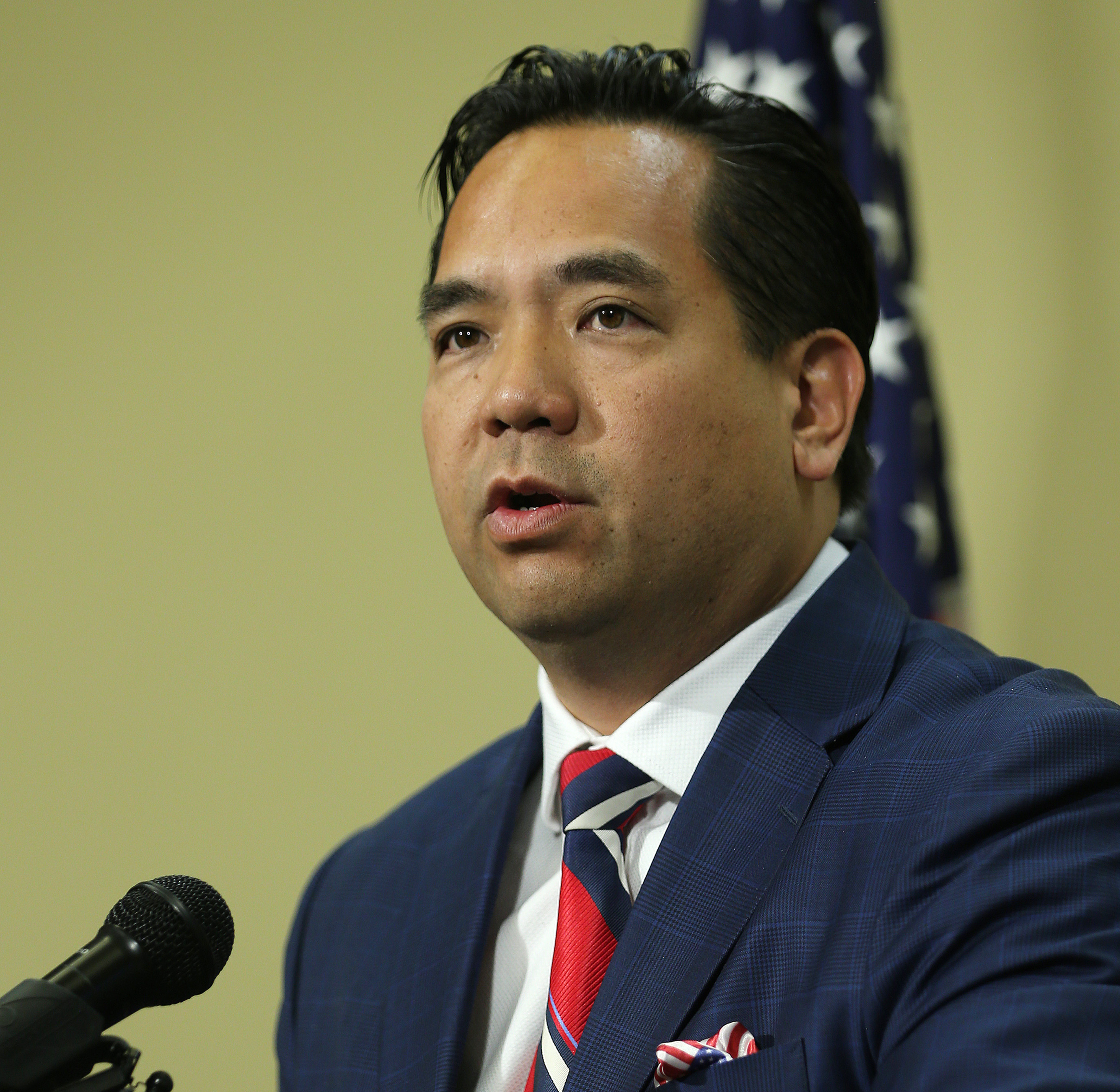 Utah Attorney General Sean Reyes reports the results of an joint effort to fight the drug epidemic during a press conference at the Capitol in Salt Lake City on Friday, June 30, 2017.