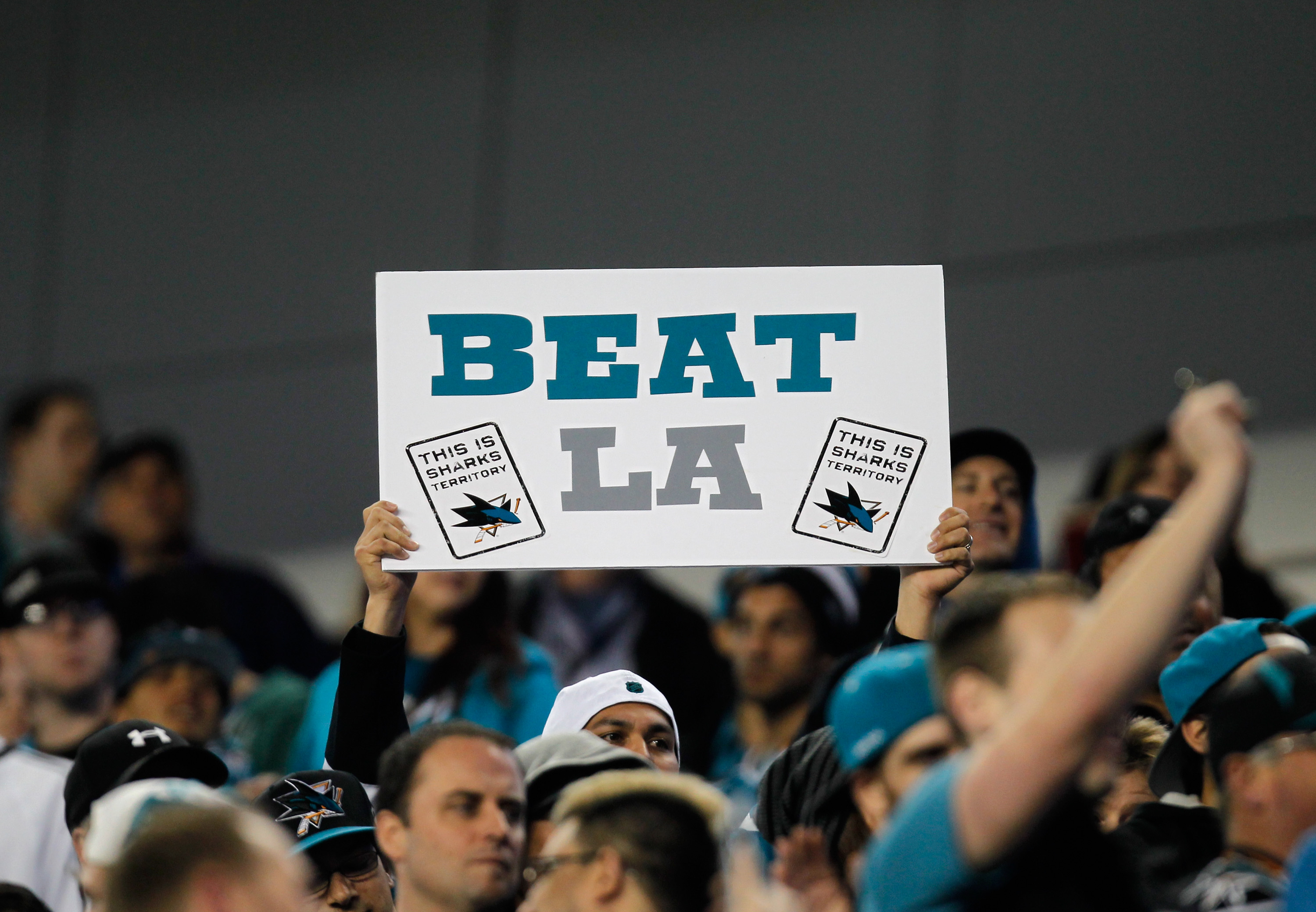 SANTA CLARA, CA - FEBRUARY 21: Fans hold a sign during the 2015 Coors Light NHL Stadium Series game between the Los Angeles Kings and the San Jose Sharks at Levi's Stadium on February 21, 2015 in Santa Clara, California.