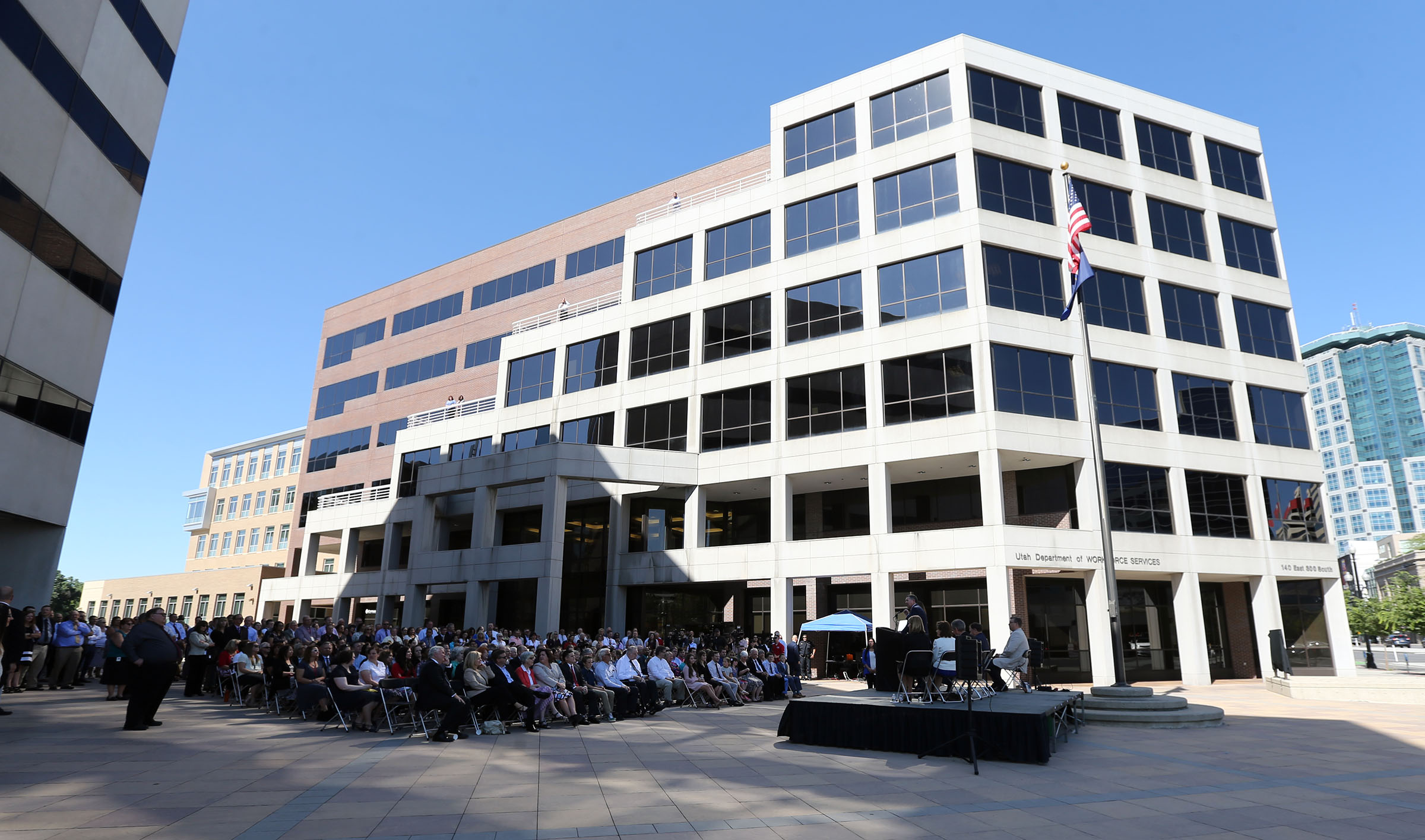 The Utah Department of Workforce Services' main administration building in Salt Lake City now bears the name of the late Gov. Olene S. Walker. The building was renamed during a ceremony celebrating the department's 20th anniversary on Thursday, June 29, 2017.