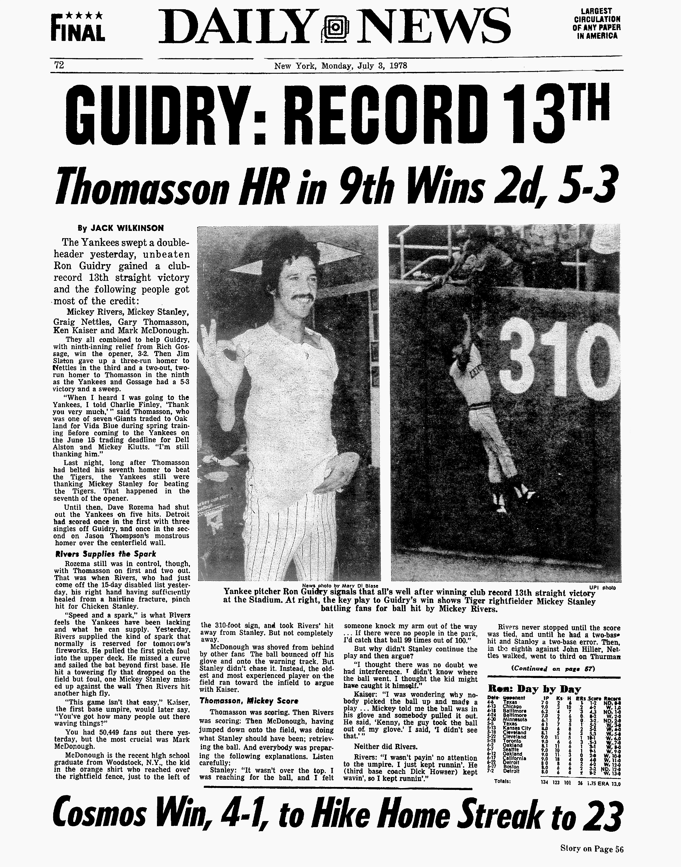 Daily News back page dated July 3, 1978, Headlines: GUIDRY: