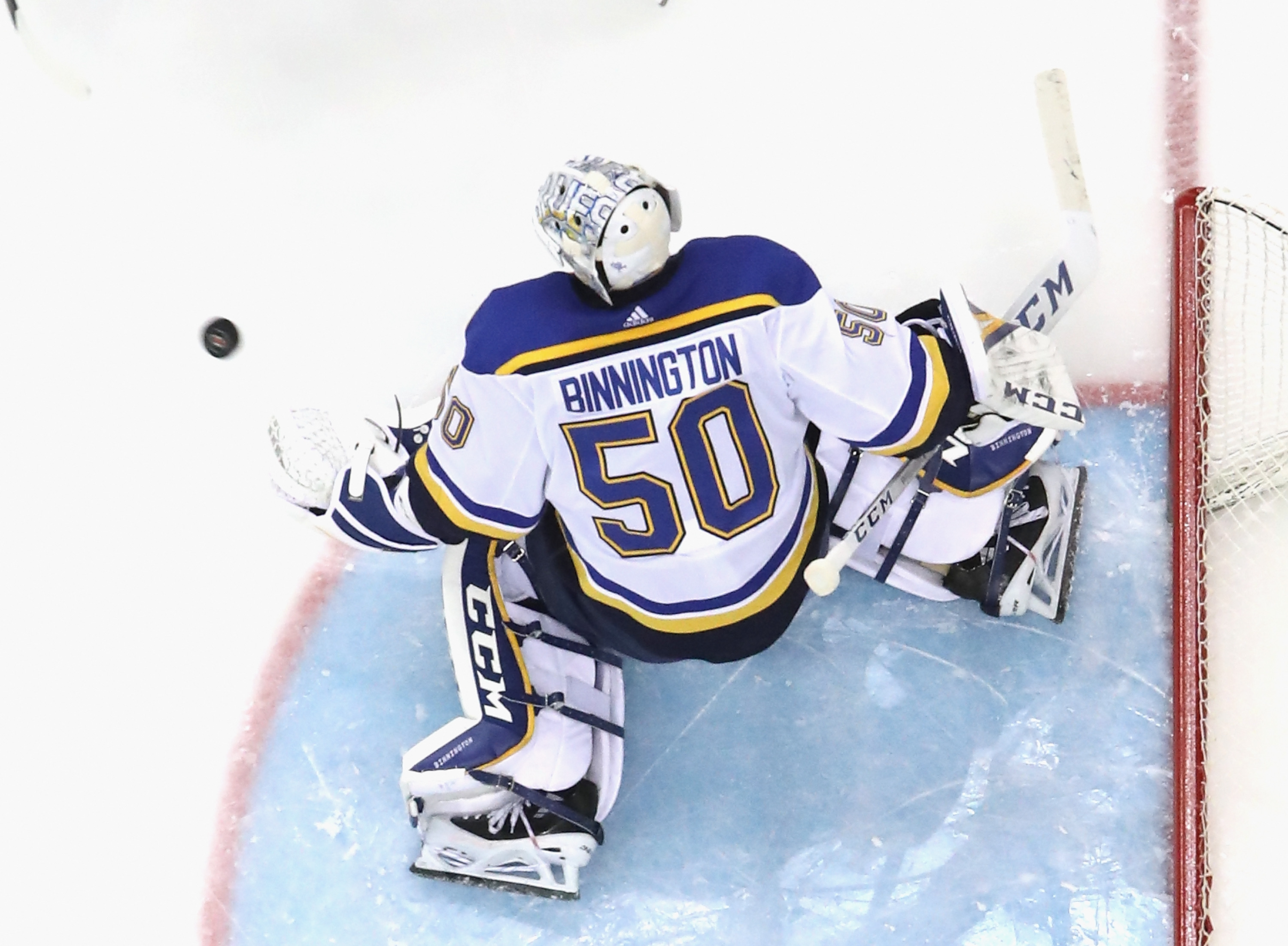 Jordan Binnington #50 of the St. Louis Blues skates against the New Jersey Devils at the Prudential Center on March 06, 2020 in Newark, New Jersey. The Devils defeated the Blues 4-2.