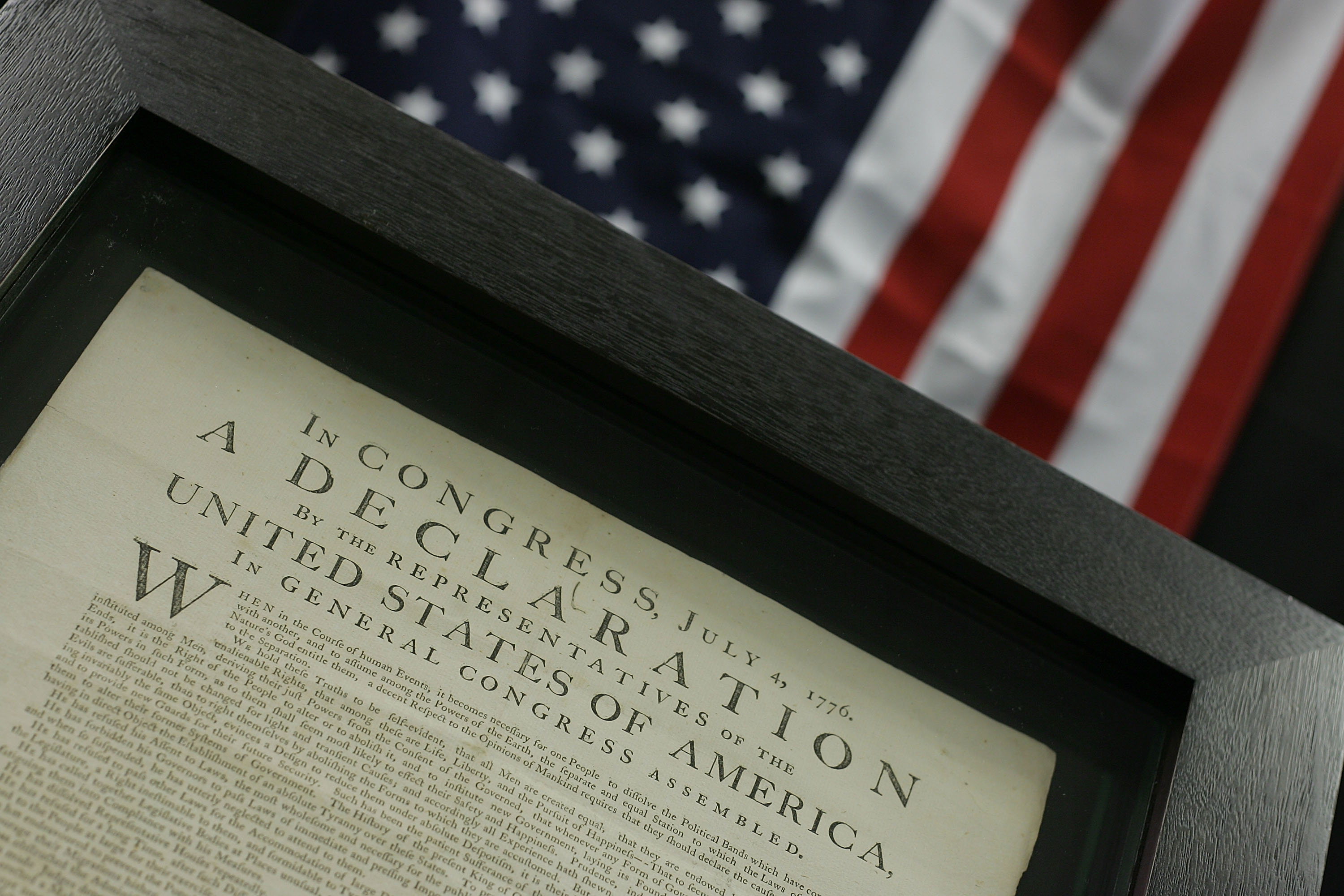 A framed image of the Declaration of Independence.