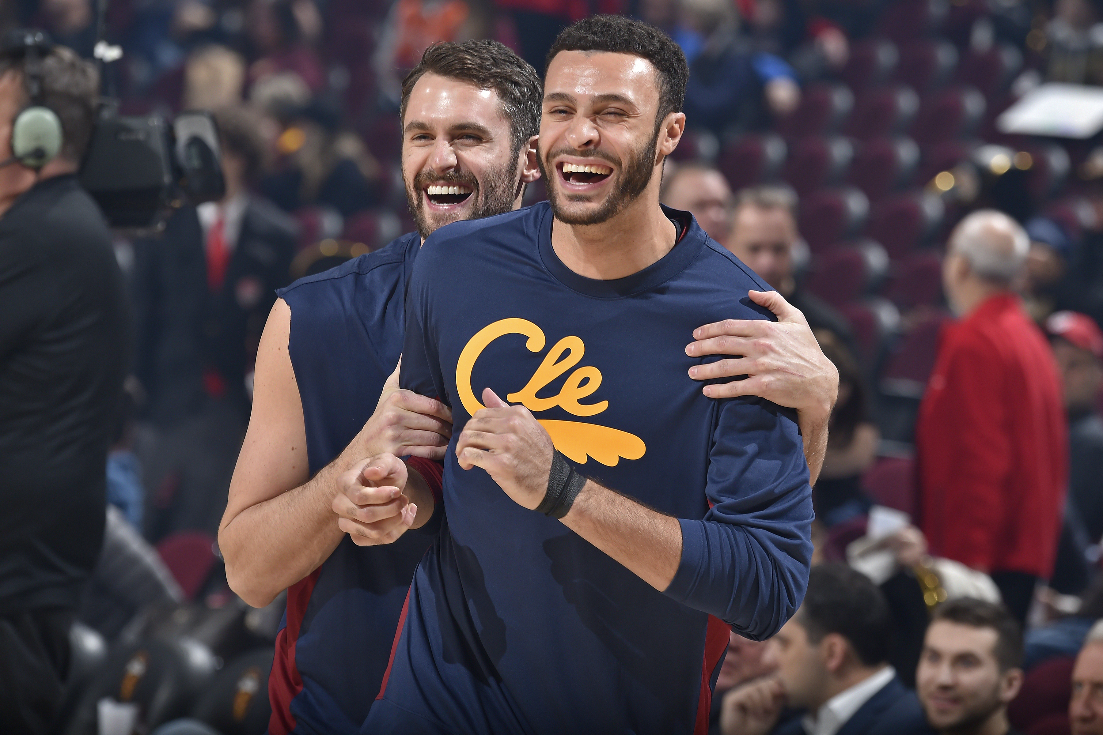 CLEVELAND, OH - NOVEMBER 27: Kevin Love #0 of the Cleveland Cavaliers and Larry Nance Jr. #22 of the Cleveland Cavaliers smile prior to a game against the Orlando Magic on November 27, 2019 at Quicken Loans Arena in Cleveland, Ohio. NOTE TO USER: User expressly acknowledges and agrees that, by downloading and/or using this Photograph, user is consenting to the terms and conditions of the Getty Images License Agreement. Mandatory Copyright Notice: Copyright 2019 NBAE