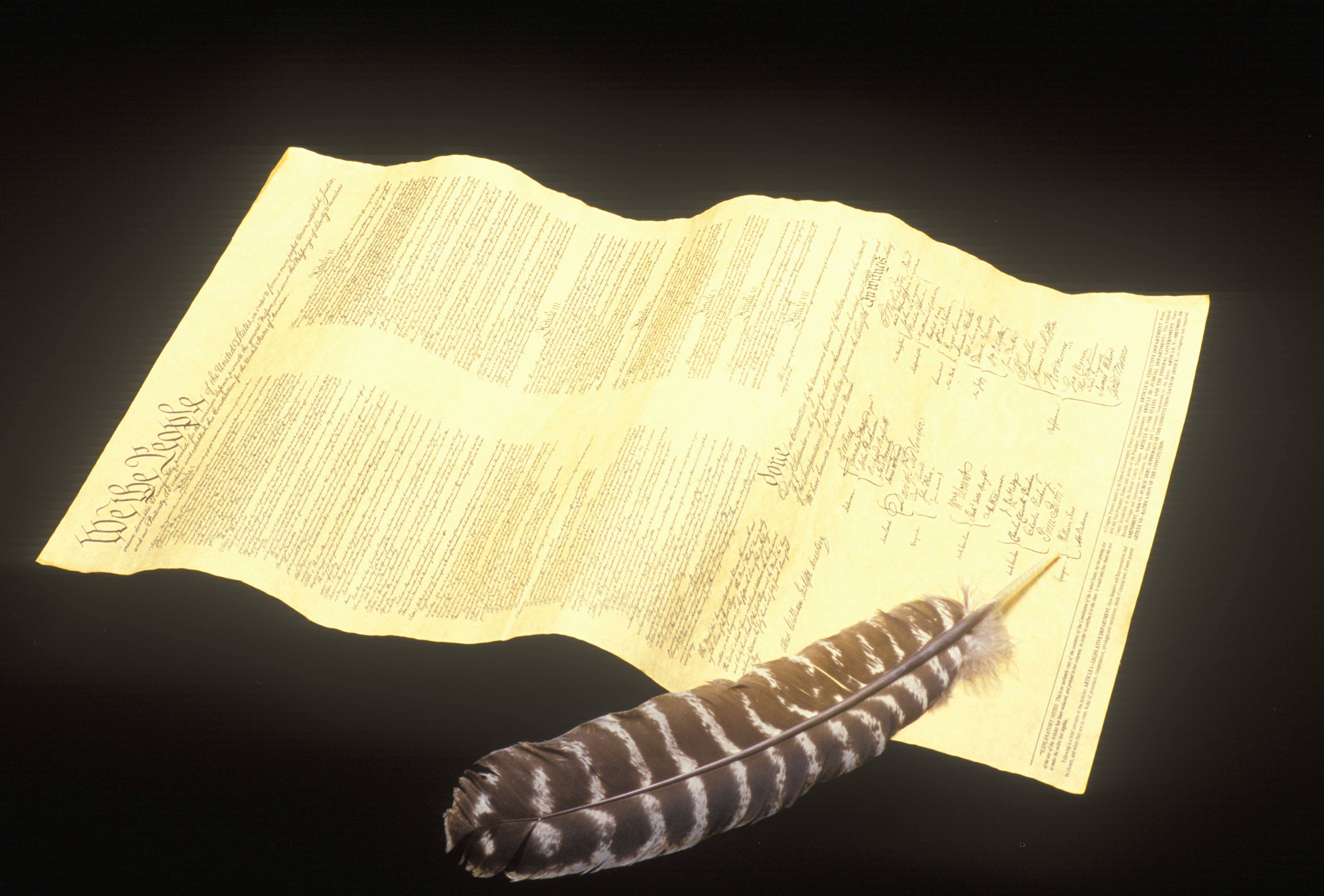 Quill pen with replica of Declaration of Independence
