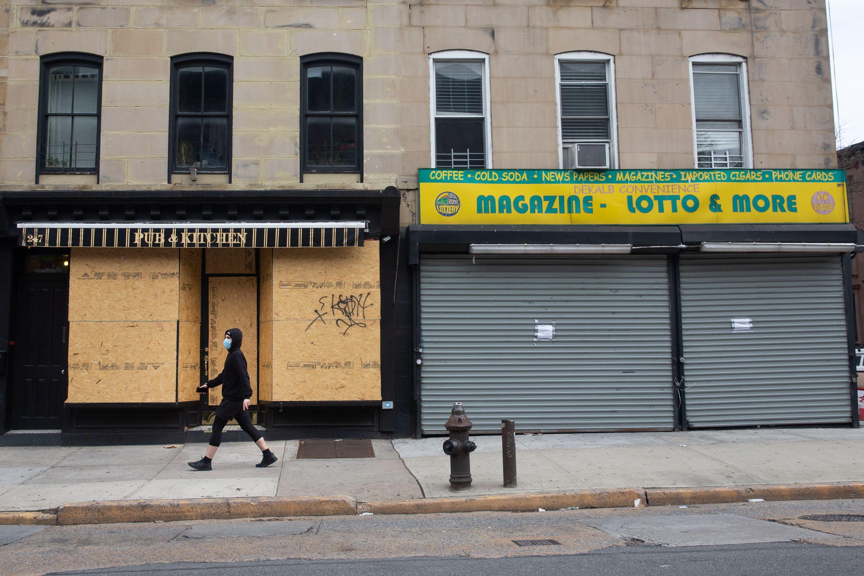 Closed businesses along Dekalb Avenue in Fort Greene, Brooklyn.