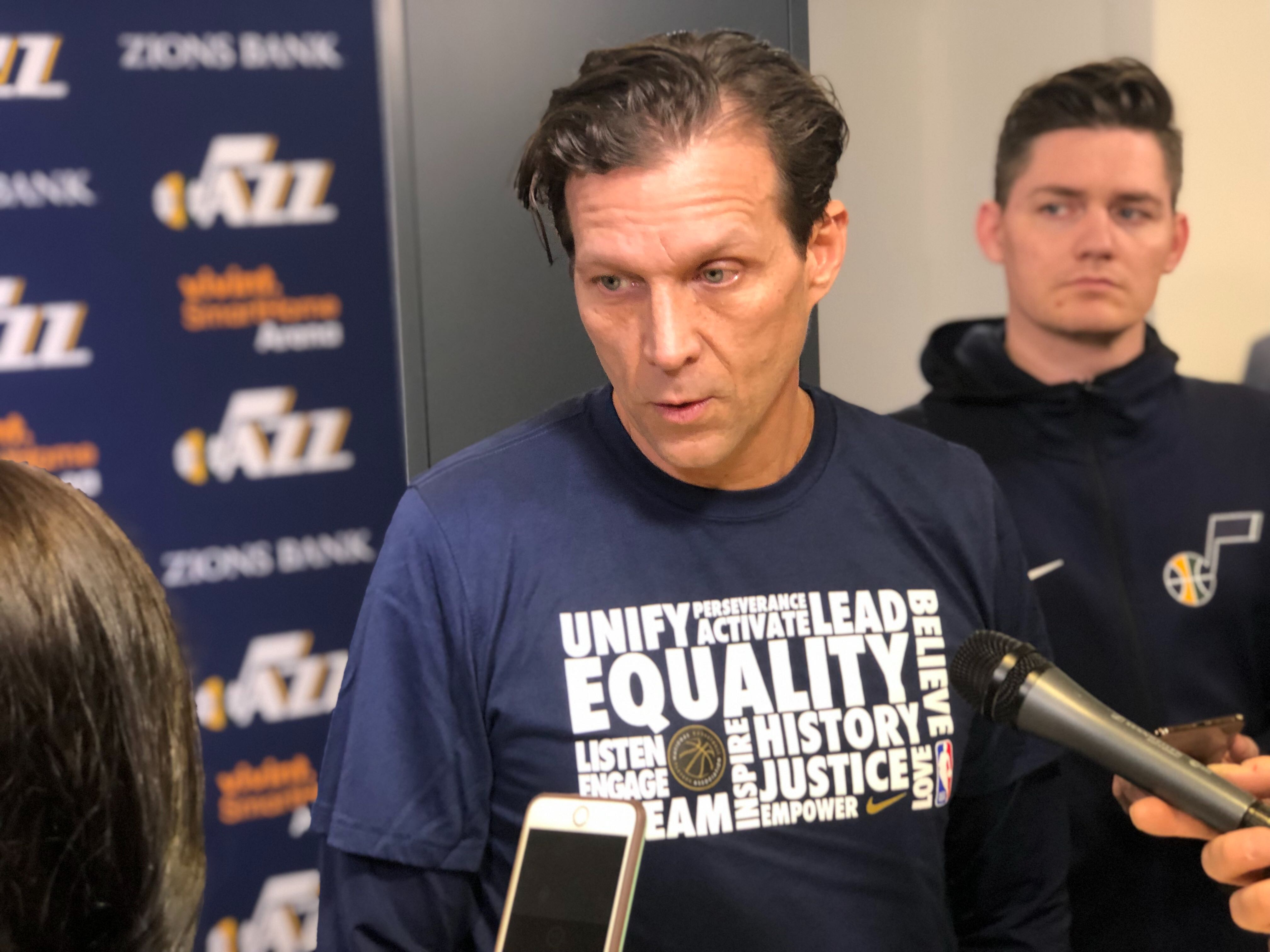 Utah Jazz coach Quin Snyder joins the leaguewide celebration of Black History Month by wearing the Nike Black History Month t-shirt ahead of the Atlanta Hawks game on Friday, Feb. 1, 2019.