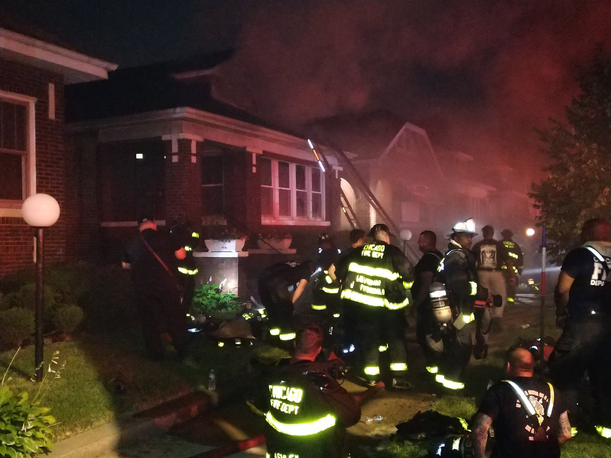 Firefighters work to put out a blaze July 5, 2020, in the 8700 block of South Bishop Avenue.