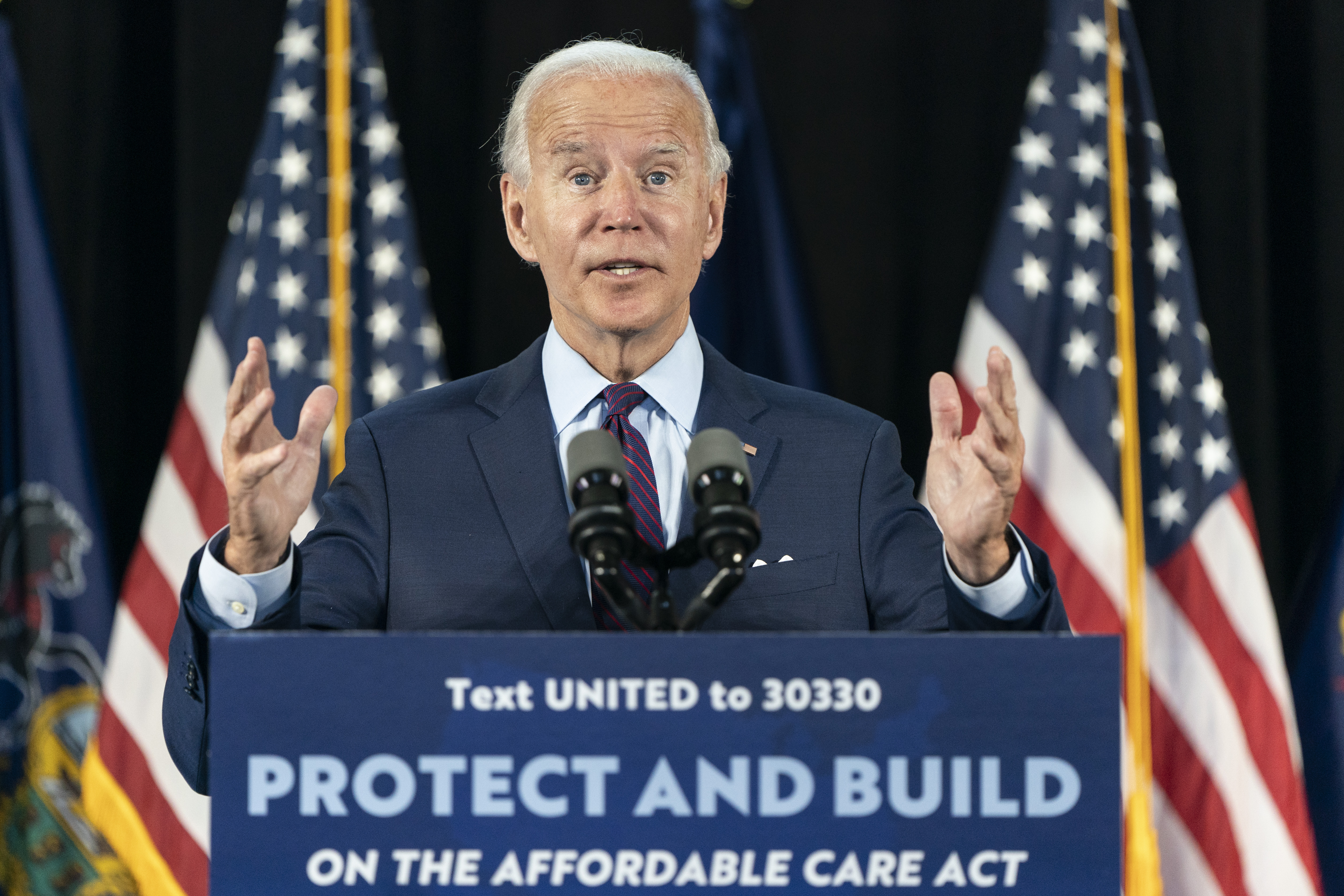 Democratic presidential candidate former Vice President Joe Biden speaks during an event about affordable healthcare at the Lancaster Recreation Center on June 25, 2020 in Lancaster, Pennsylvania.