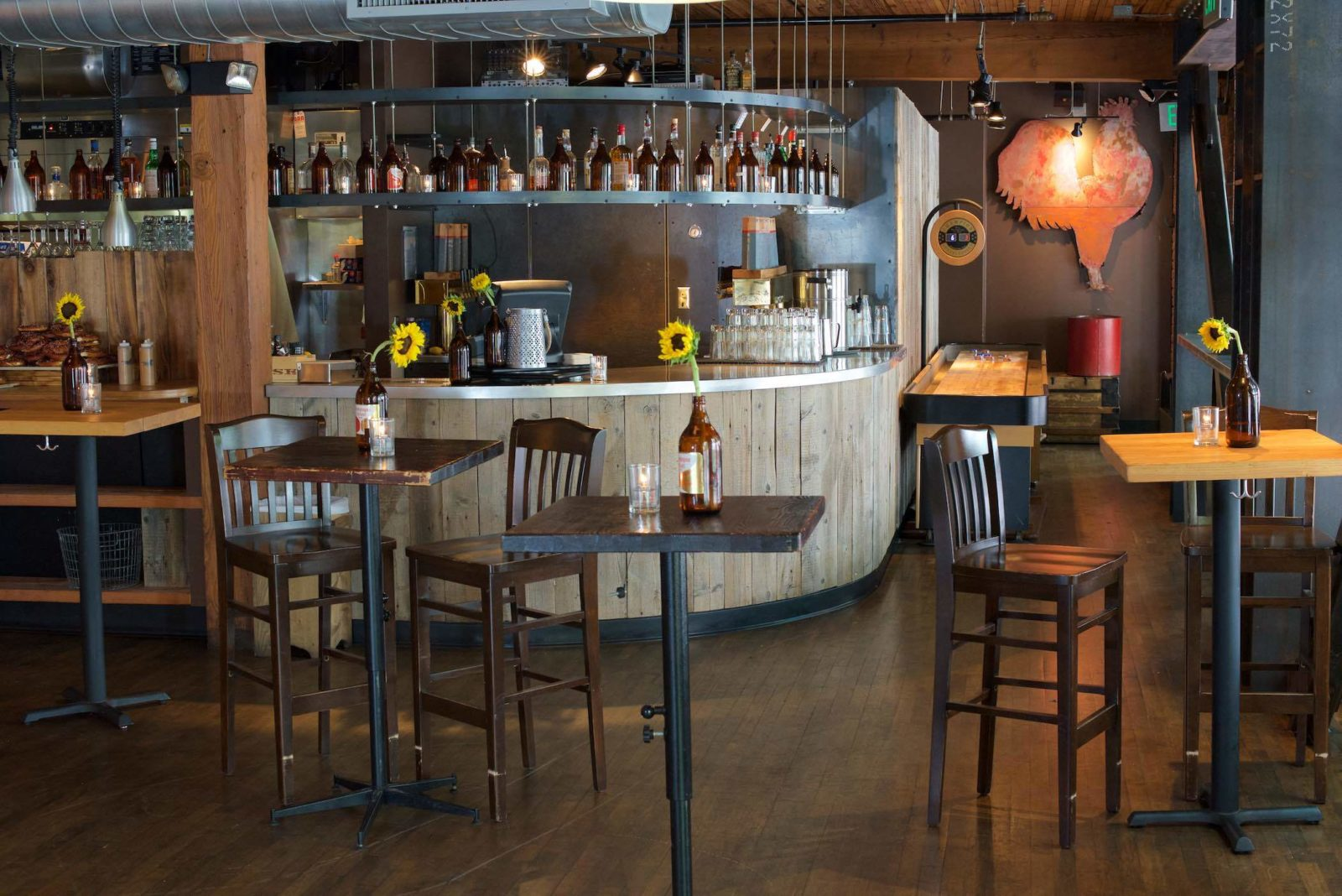 The empty interior of Brave Horse Tavern in South Lake Union