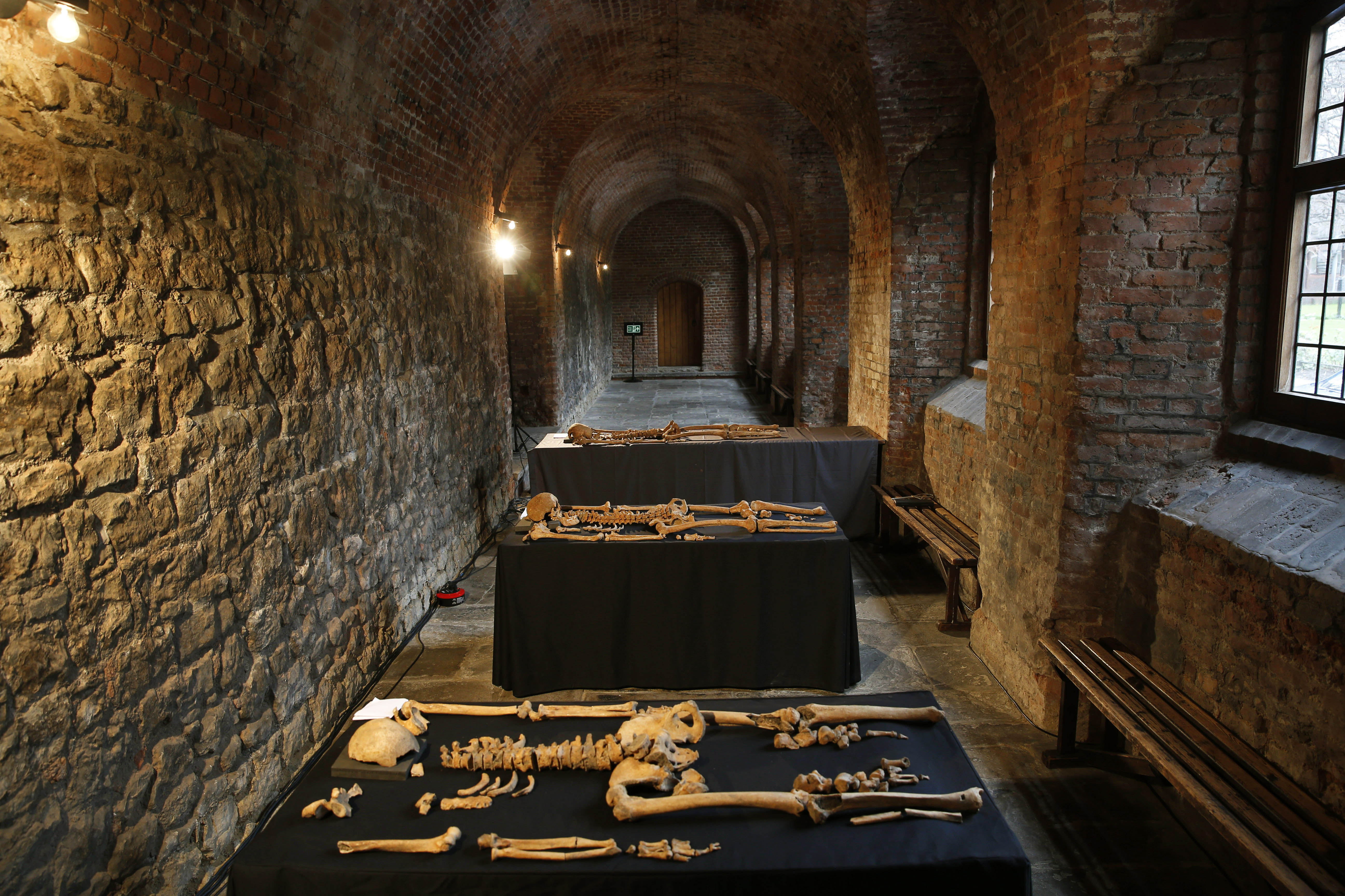 In this Wednesday, March 26, 2014 photo, some of the skeletons found by construction workers under central London's Charterhouse Square are pictured.