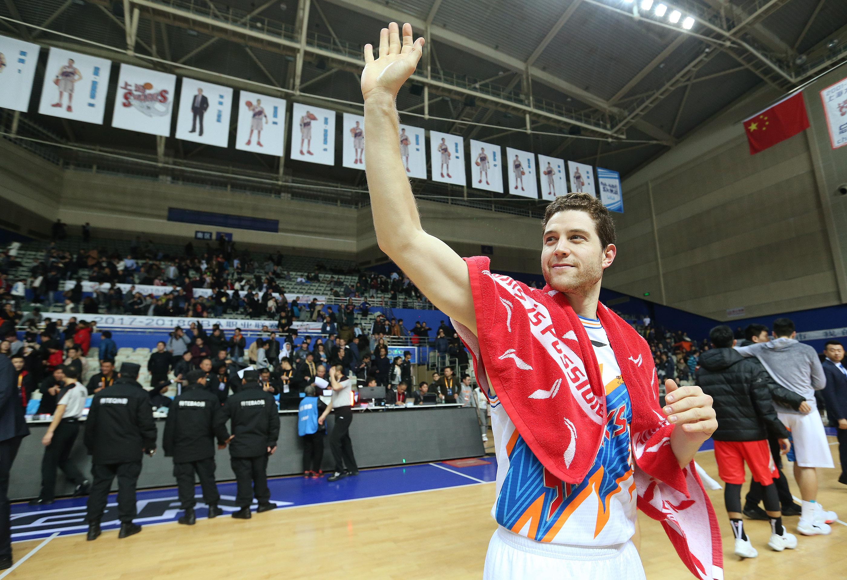 Jimmer Fredette waves to fans after a game with the Bayi Rockets in Shanghai on Jan. 19, 2018. Fredette, whose career has included stops in Provo, multiple NBA cities, Shanghai and Greece, is now looking for his next basketball home after ending his tenure with Panathinaikos.