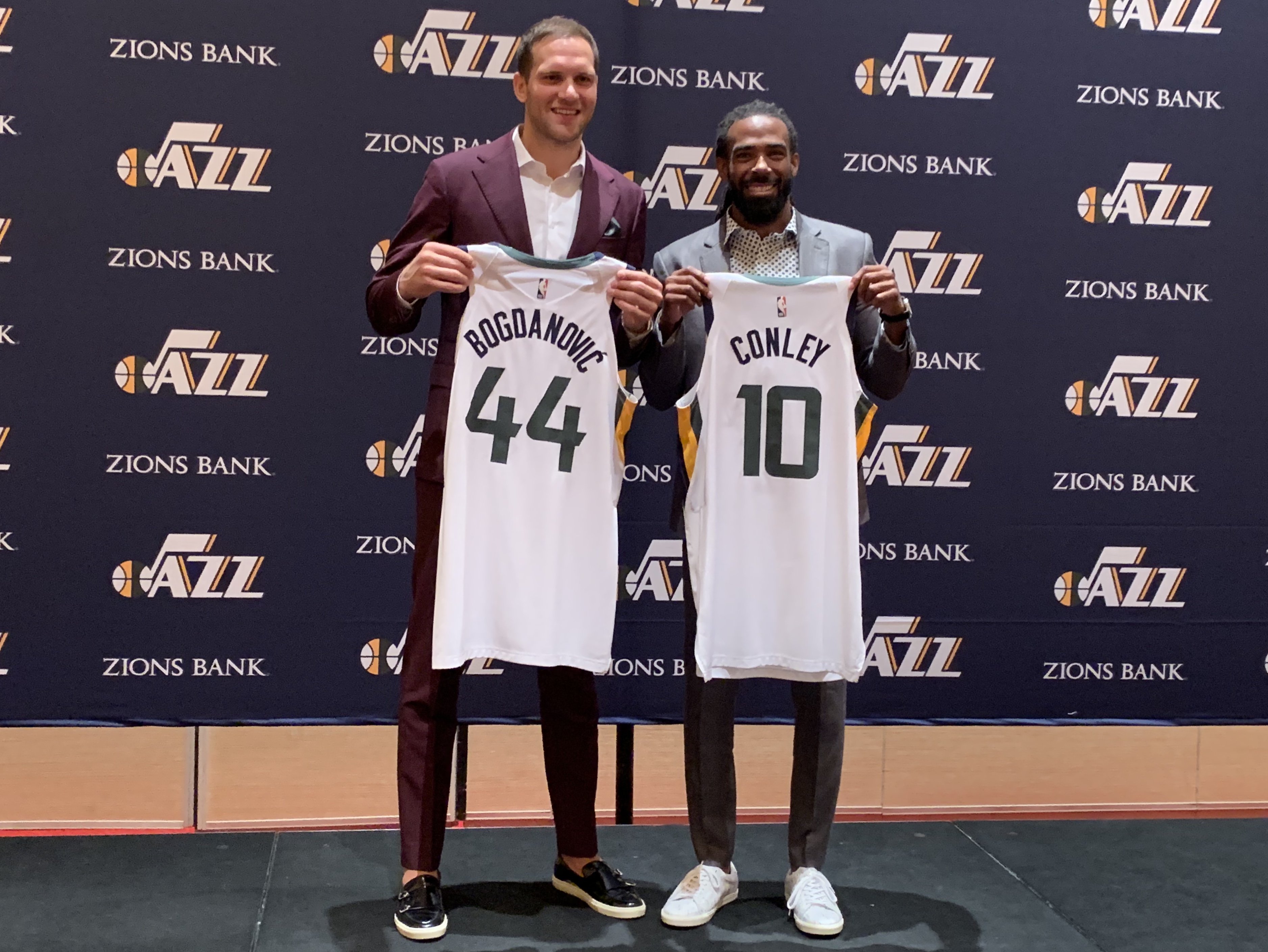 Mike Conley and Bojan Bogdanovic participated in an introductory press conference for the Utah Jazz on Monday, July 8, 2019 in Las Vegas where they showcased their No. 10 and No. 44 jerseys.