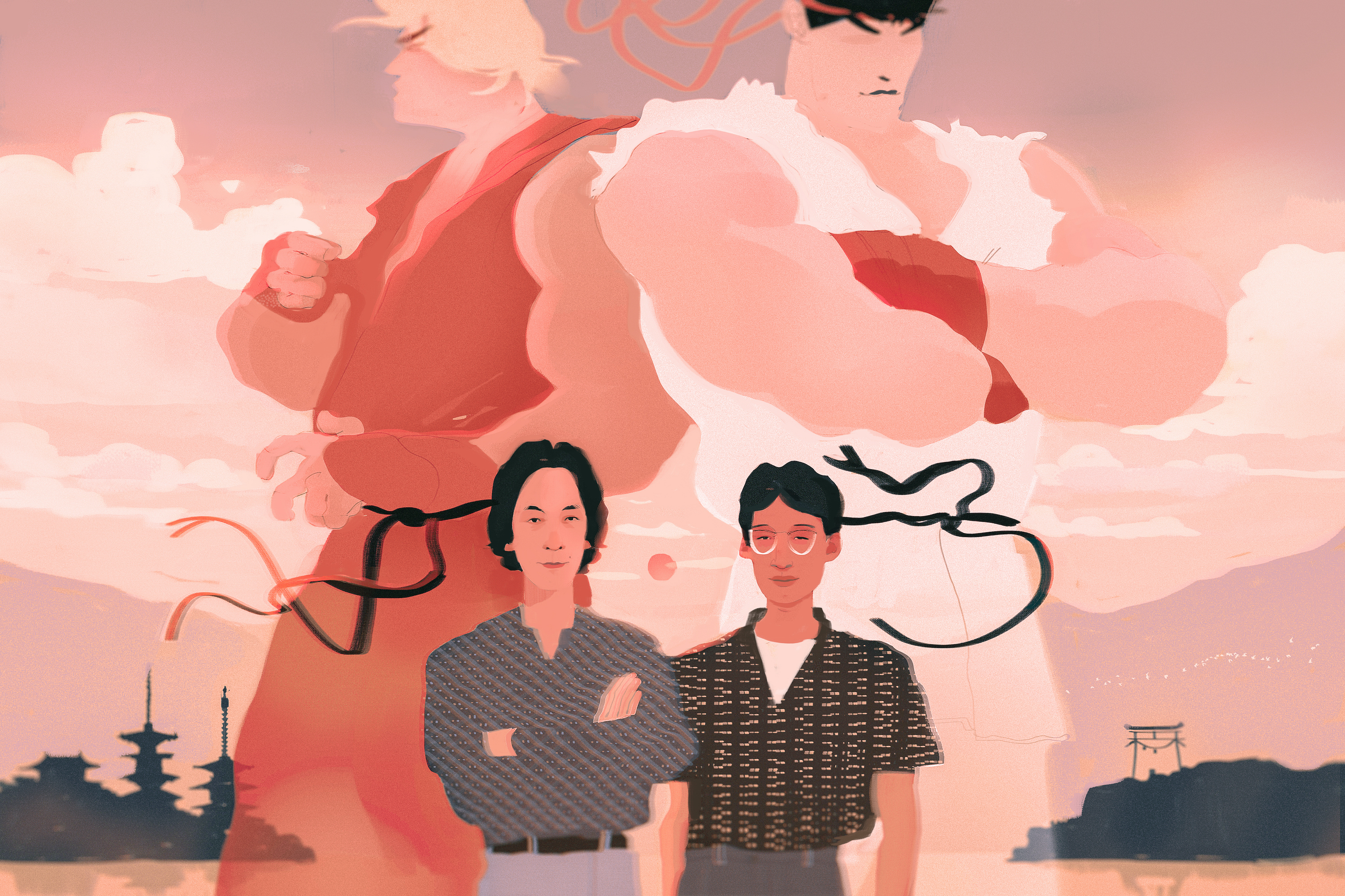 Illustration of two men standing in front of two towering characters from the Street Fighter video game
