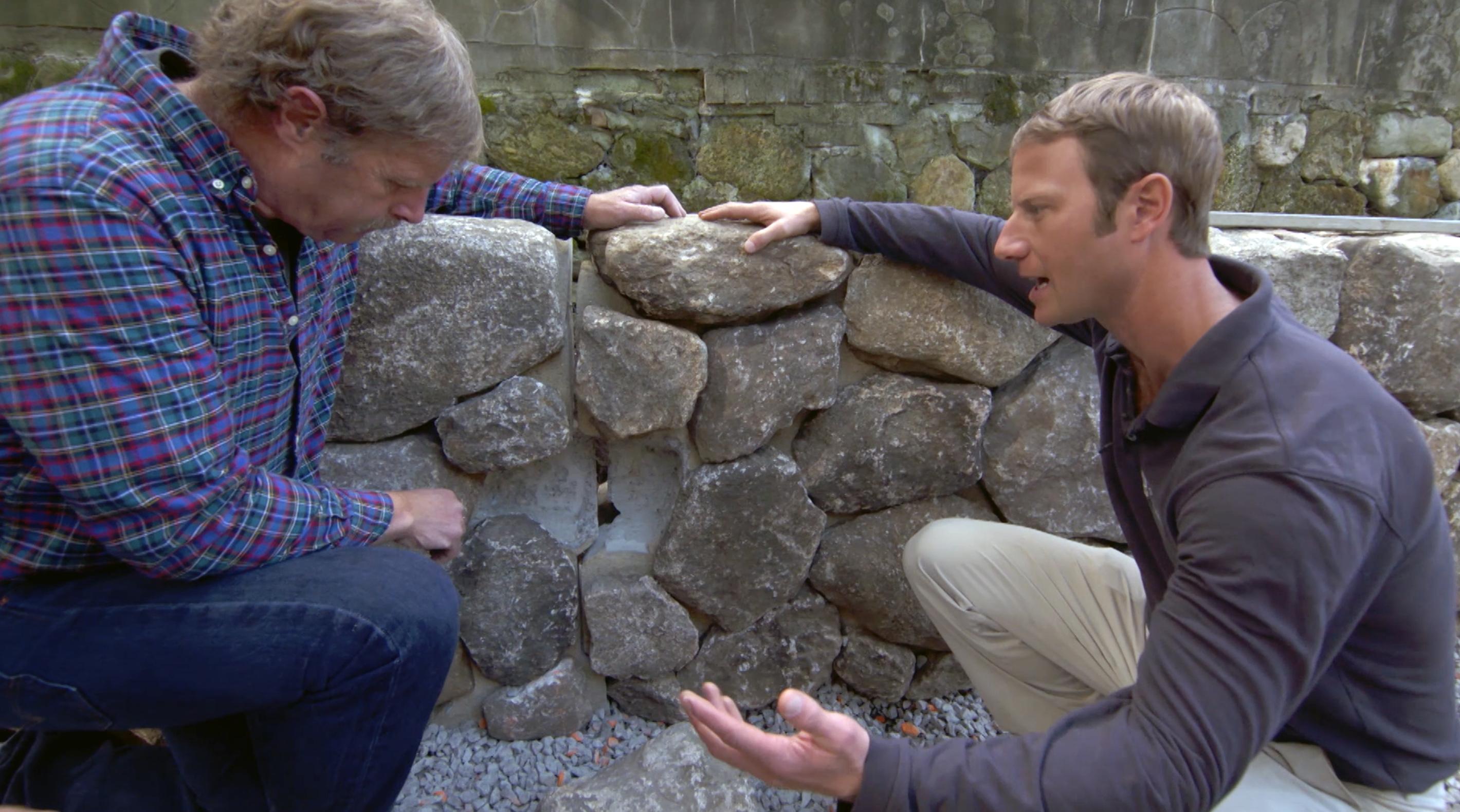 Installing a prefab stone wall