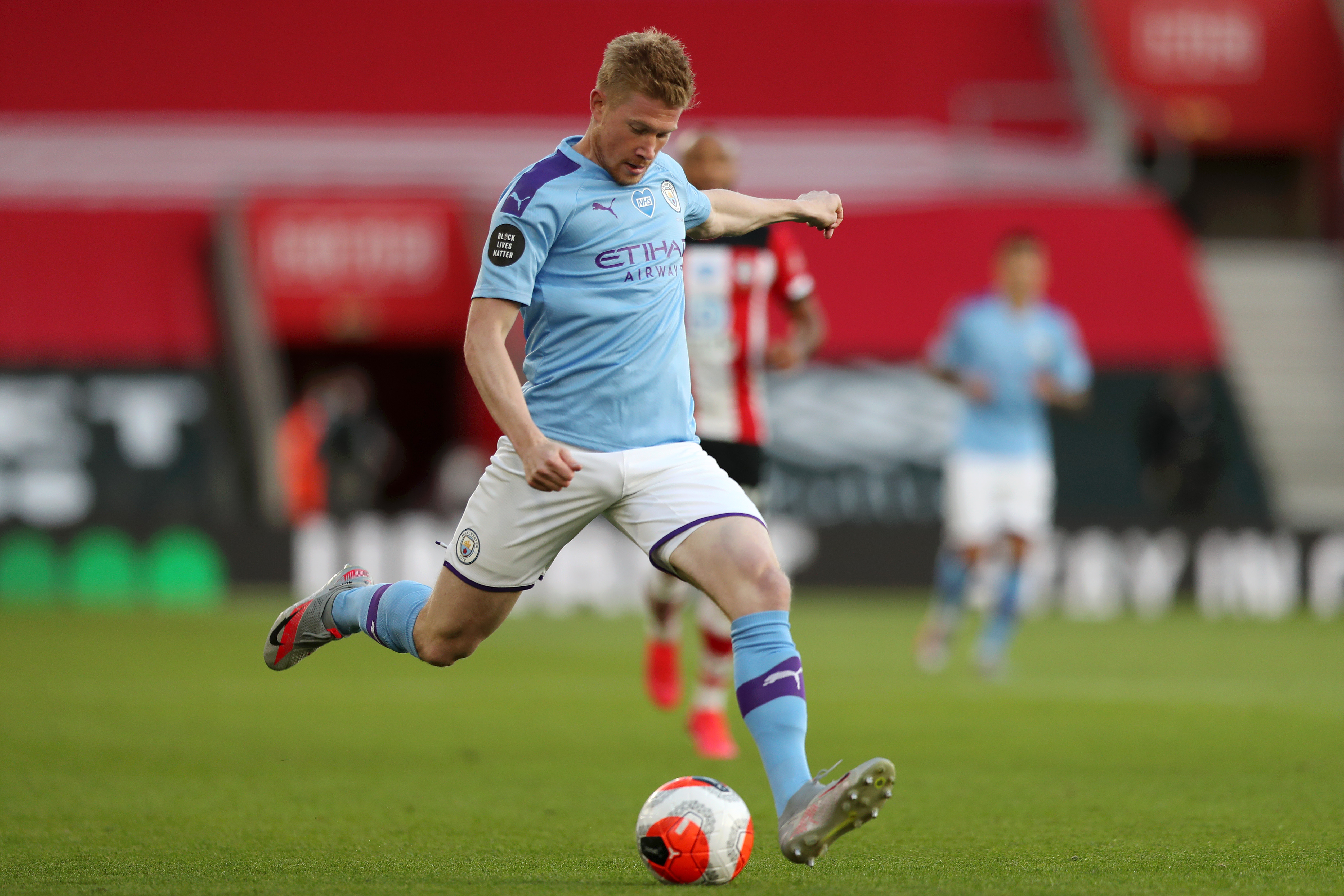 Kevin De Bruyne of Manchester City in action during the Premier League match between Southampton FC and Manchester City at St Mary's Stadium on July 5.