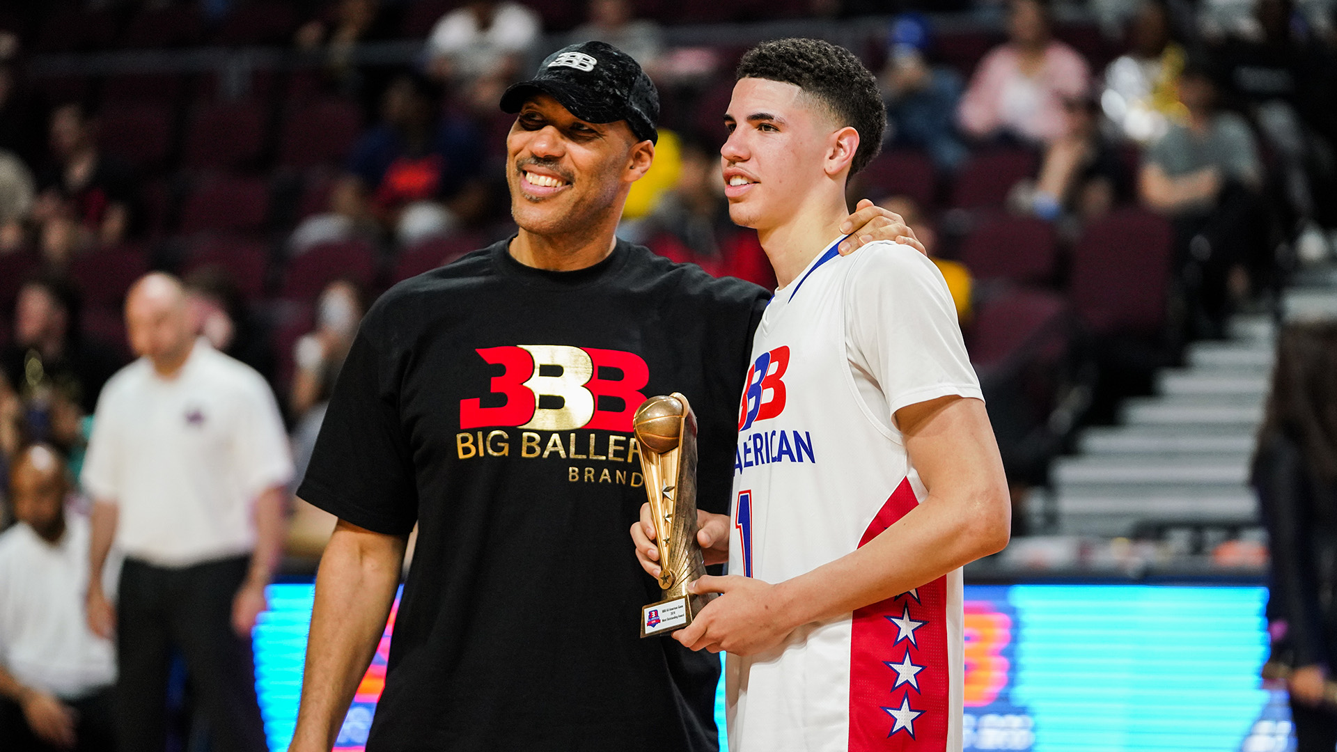 LaMelo Ball, standing next to his father LaVar, is a point guard option for the Bulls.