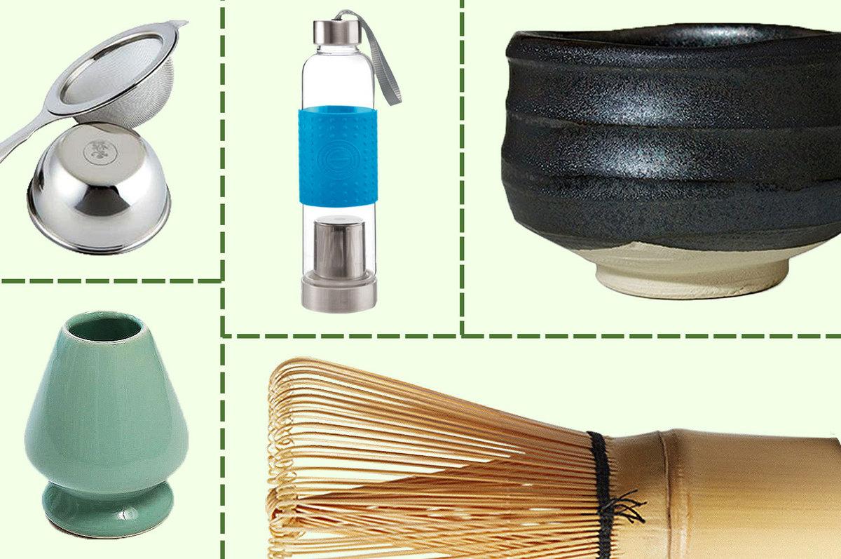 A tea strainer, tea thermos, matcha bowl, matcha whisk, and matcha keeper