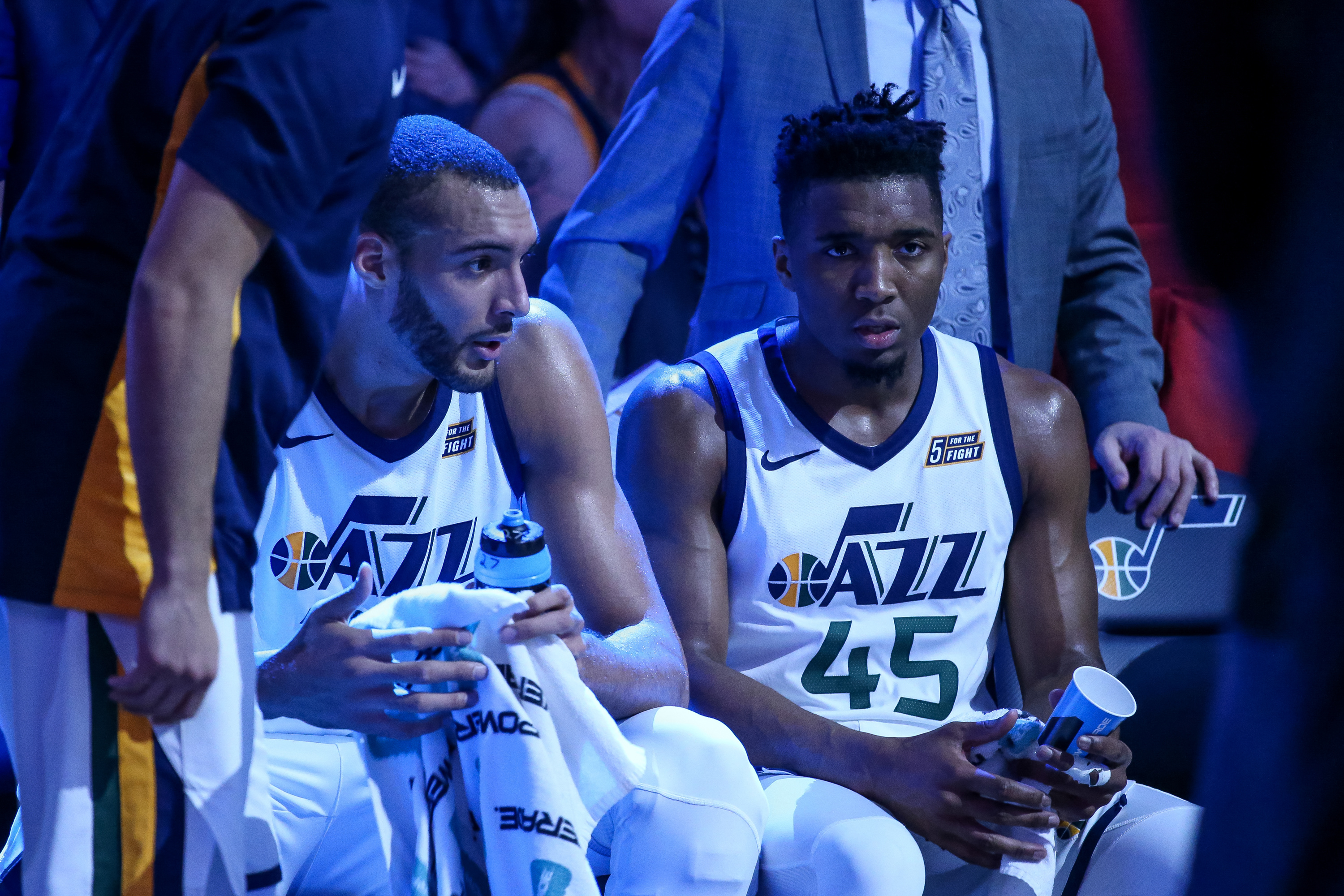 20180411 Utah Jazz center Rudy Gobert (27) and guard Donovan Mitchell (45) sit together during a timeout in the game against the Golden State Warriors at Vivint Arena in Salt Lake City on Tuesday, April 10, 2018.