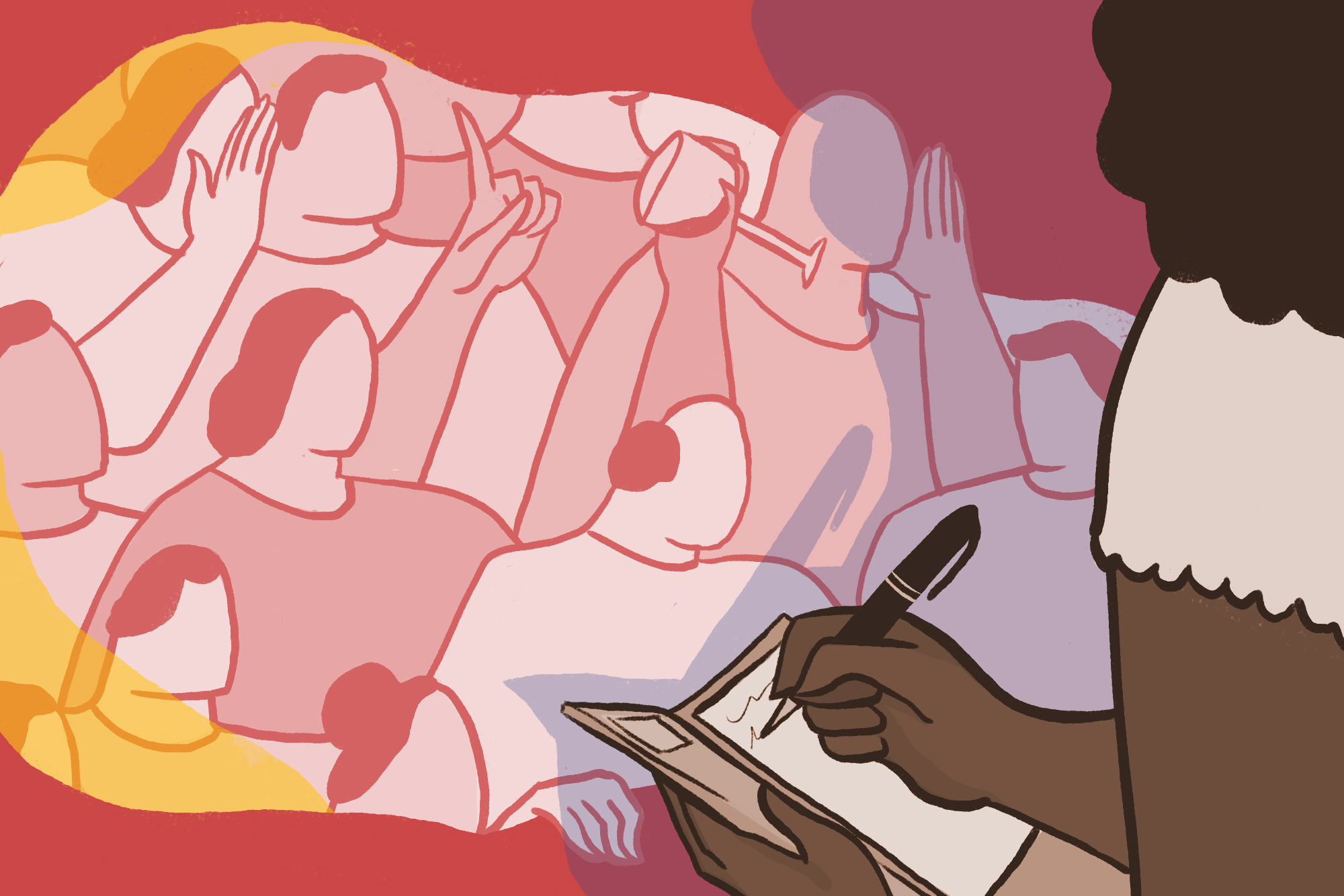 An illustration showing a Black female restaurant server taking an order, surrounded by a sea of white people trying to get her attention.