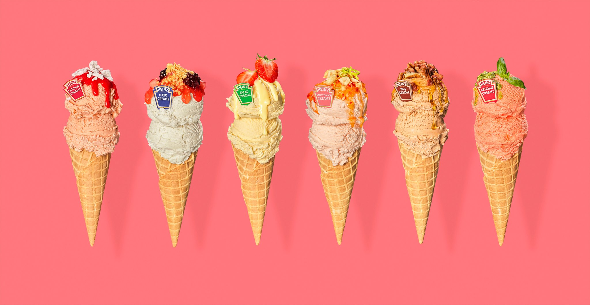 Ice cream cones featuring Heinz condiments on a pink background