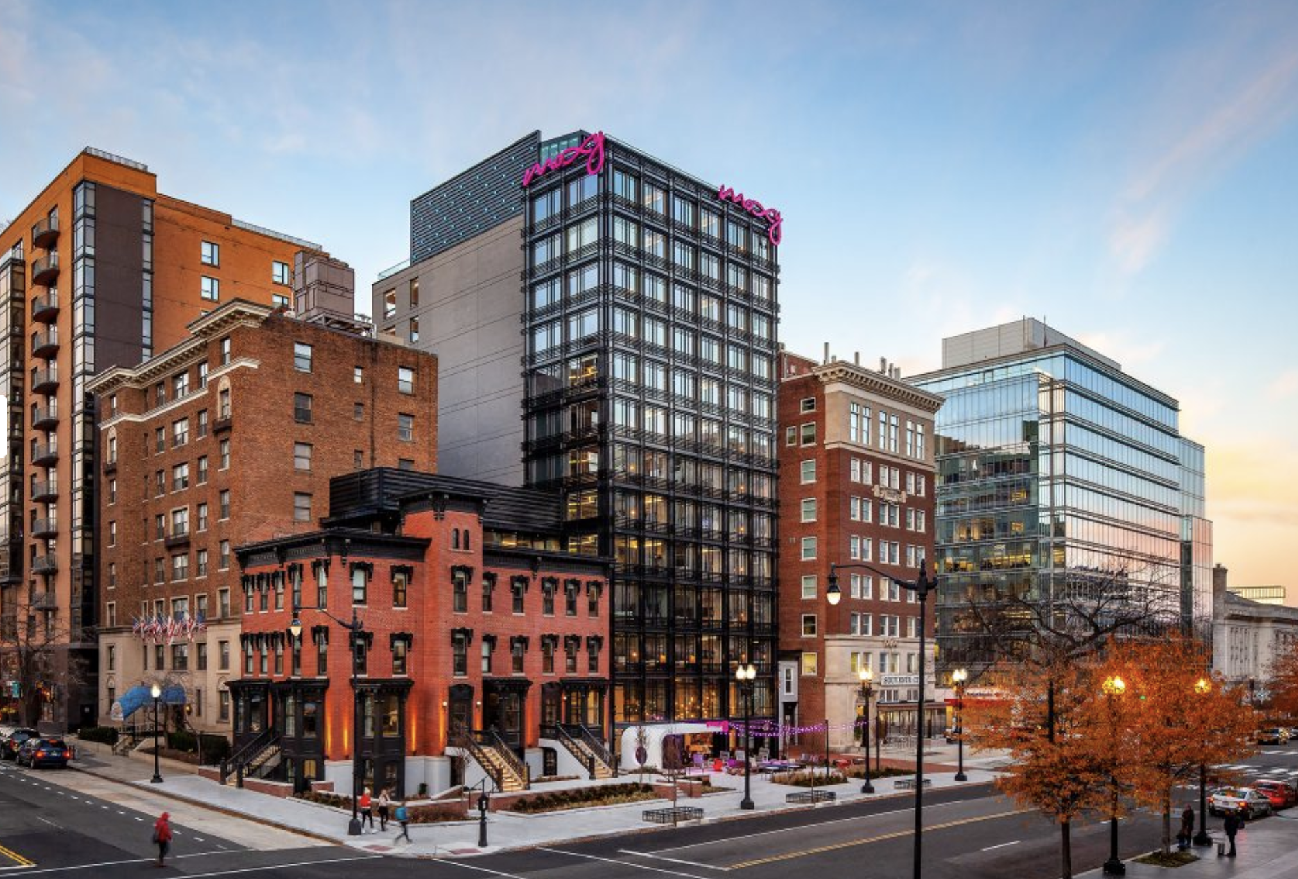 The historic building attached to the Moxy hotel at 11th and K Streets NW is slated to house a restaurant and rooftop bar from Atlas Restaurant Group