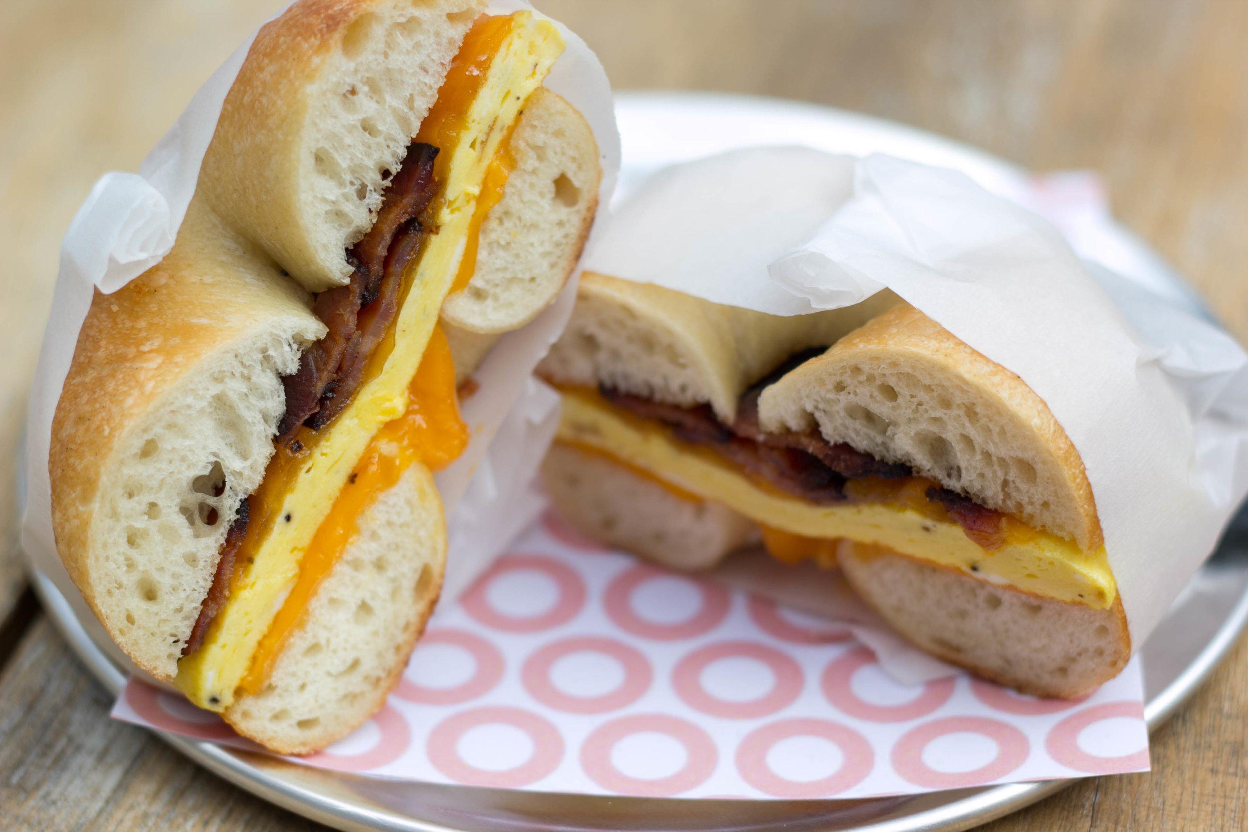 A breakfast sandwich from Pearl's Bagels