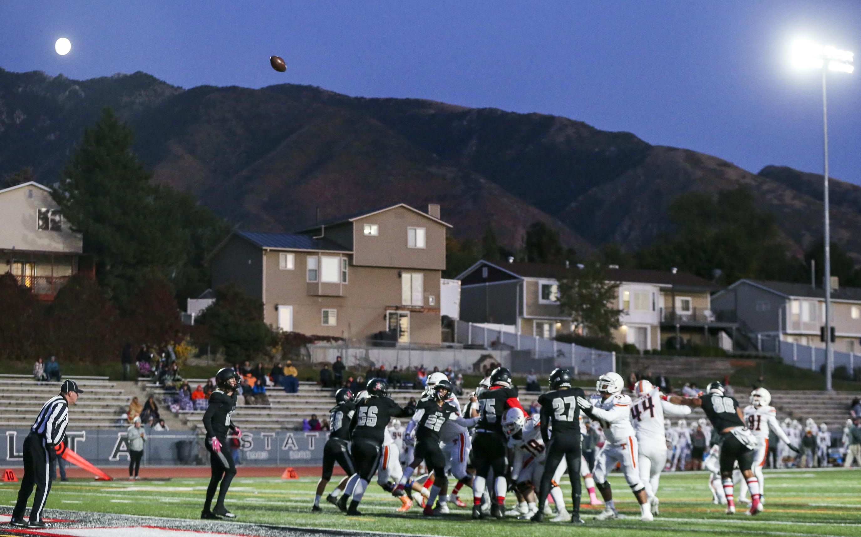 Alta High School hosts Timpview High School during a high school football game at Alta High School in Sandy on Thursday, Oct. 10, 2019.