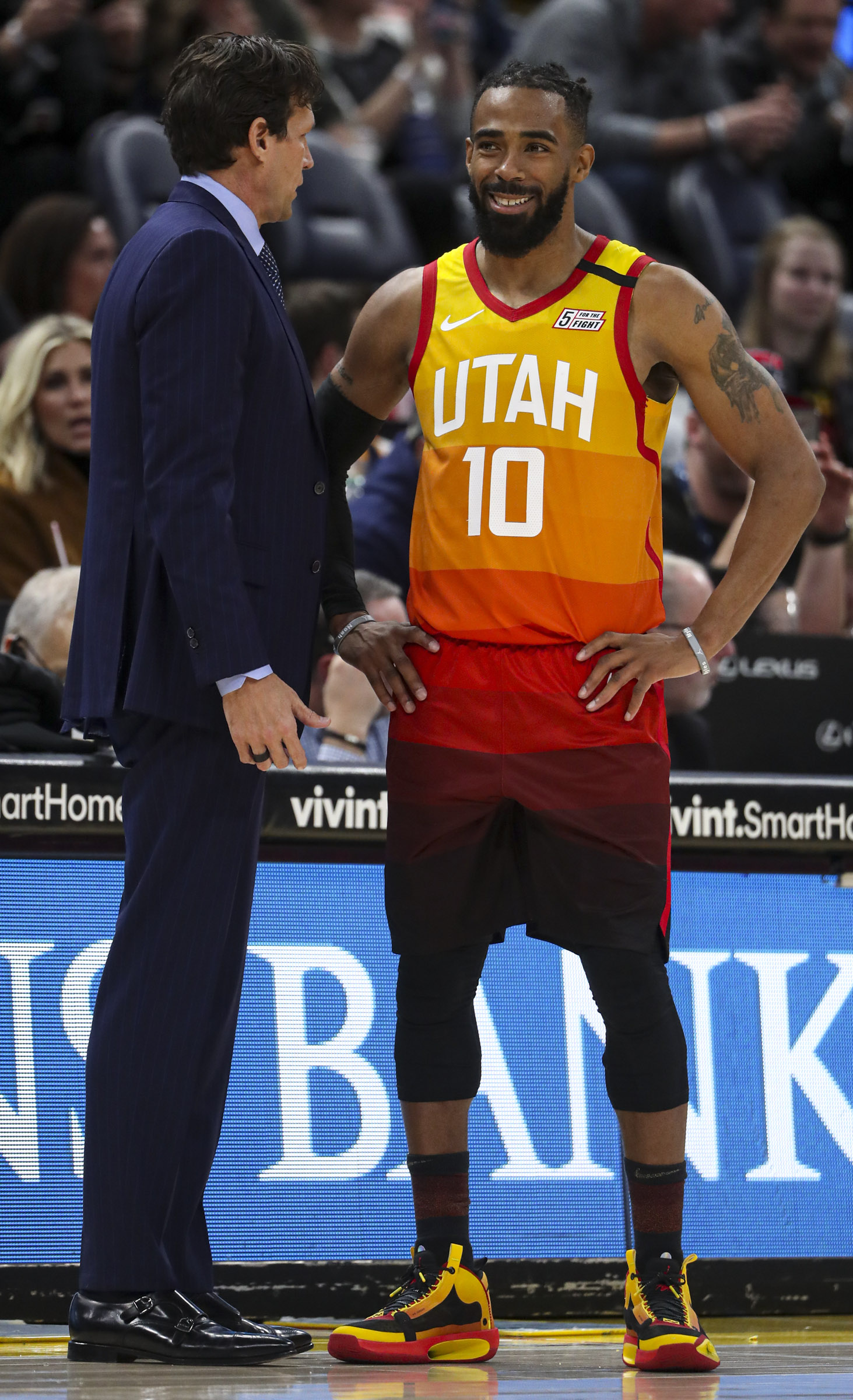 Utah Jazz guard Mike Conley (10) talks with Utah Jazz head coach Quin Snyder during the Utah Jazz and Indiana Pacers basketball game at Vivint Arena in Salt Lake City on Monday, Jan. 20, 2020.