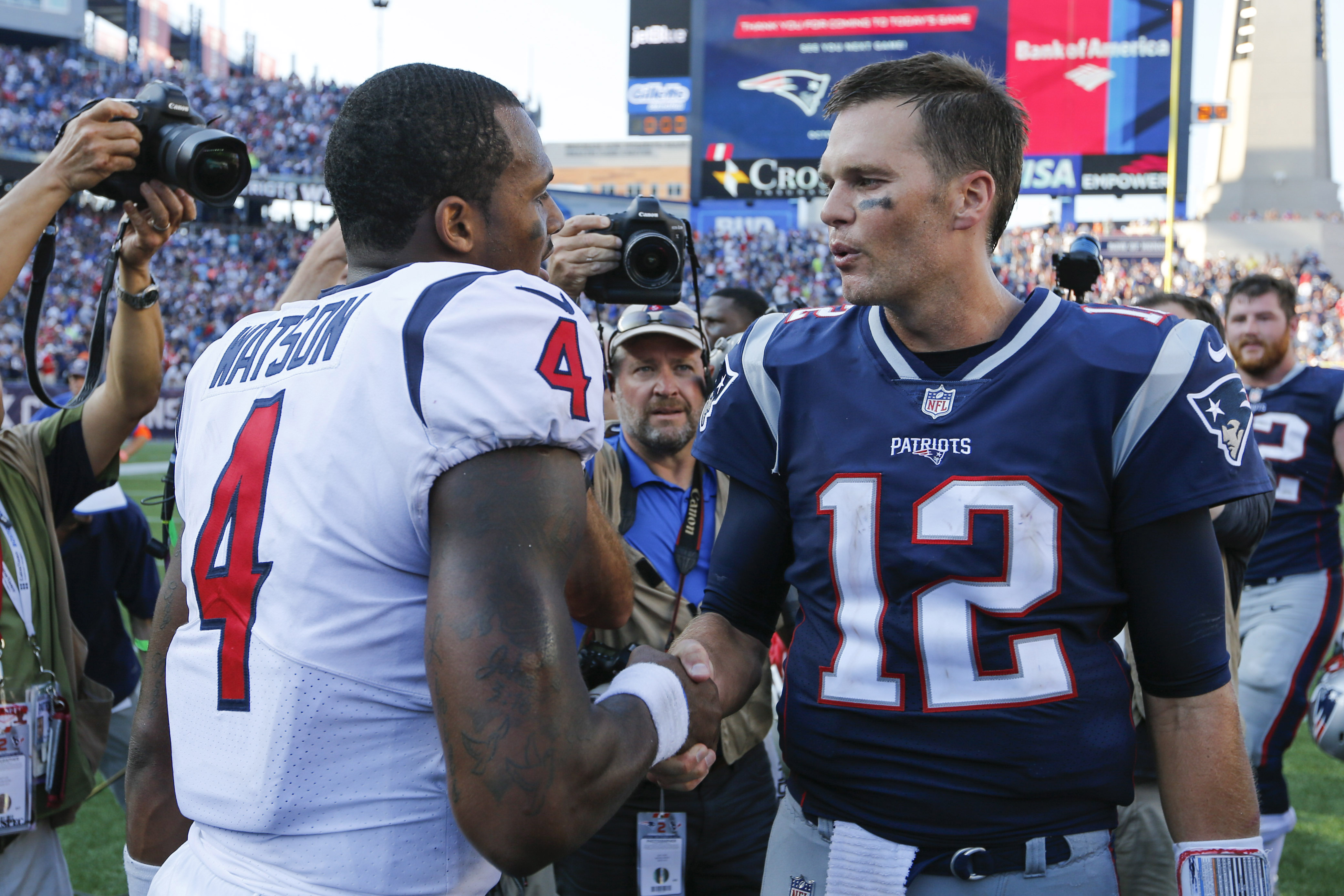 New England Patriots quarterback Tom Brady greets Houston Texans quarterback Deshaun Watson after the game at Gillette Stadium.
