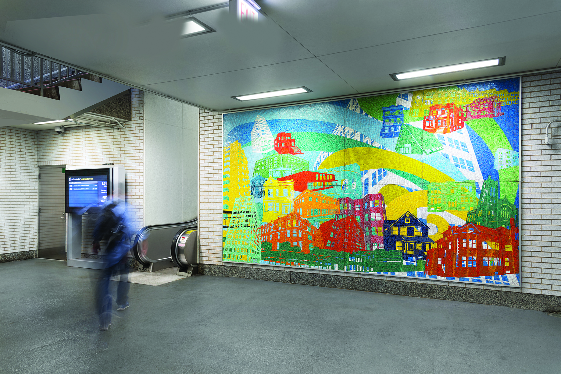 Kyungmi Shin's Granville mosaic was completed in 2014, depicting the impressions of buildings surrounding the station.