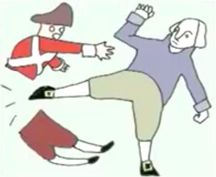 george washington kicking a british soldier apart