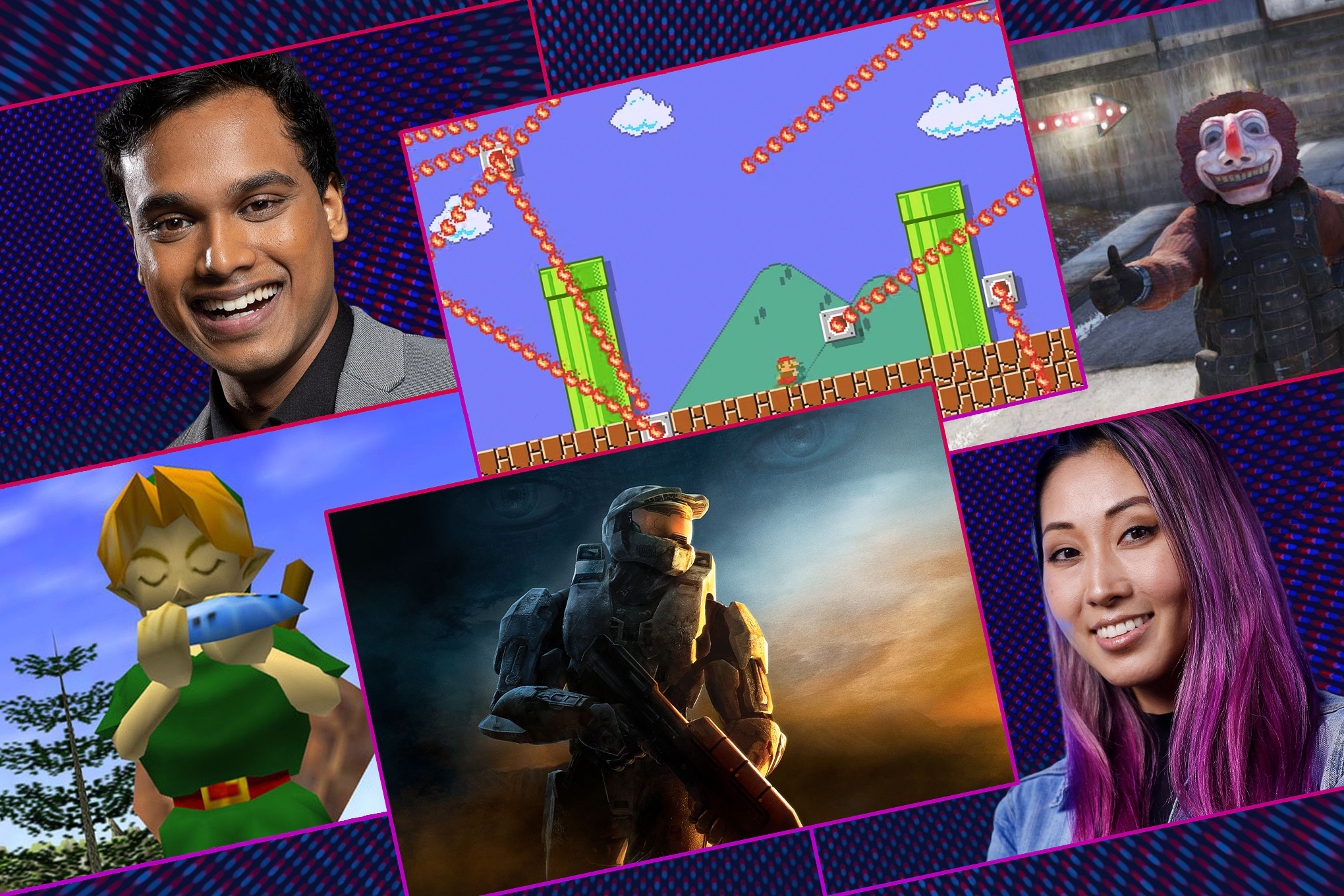 Graphic illustration featuring screen images from four different video games and portraits of Jimmy Mondal and Mari Takahashi