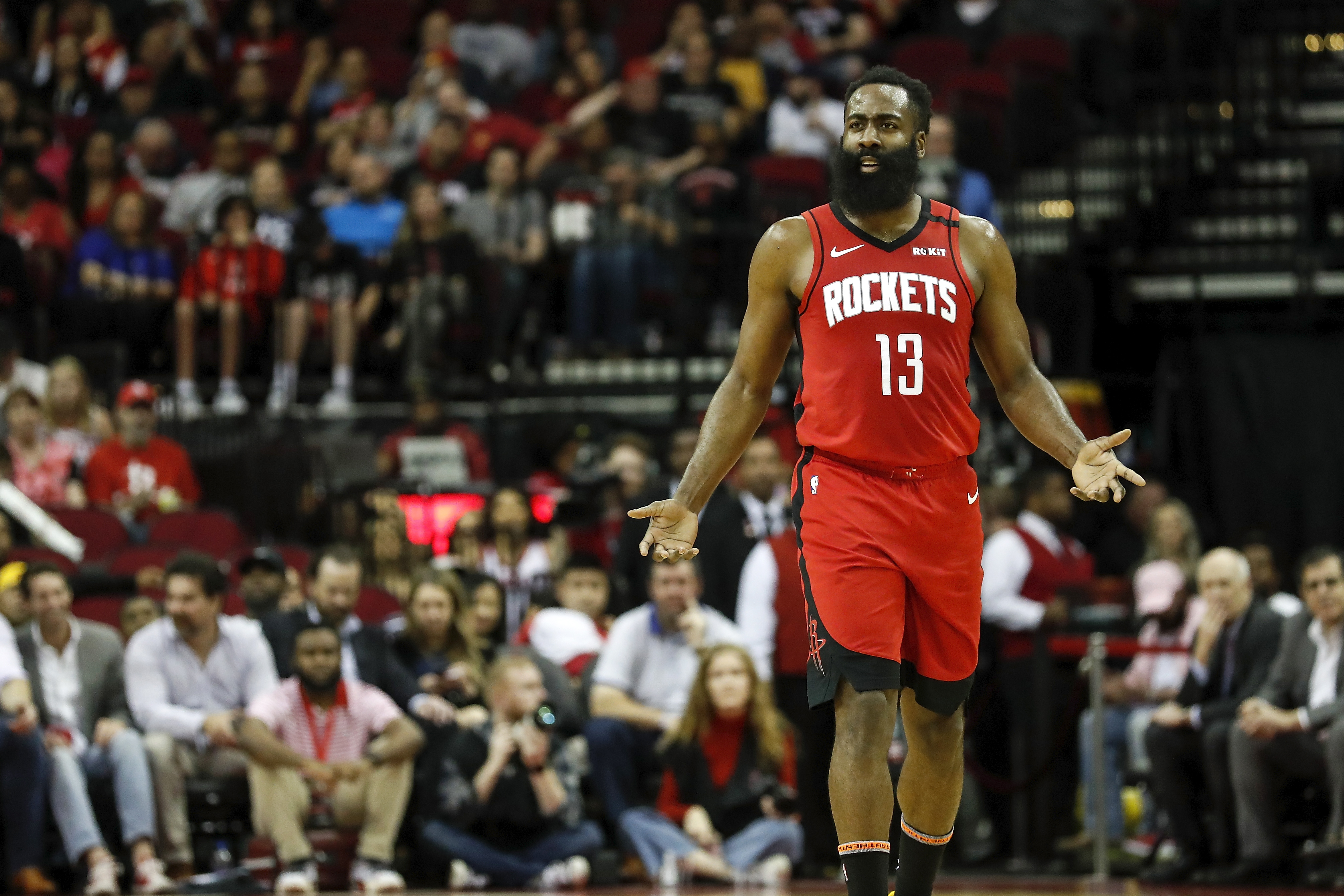 James Harden of the Houston Rockets reacts in the first half against the Minnesota Timberwolves at Toyota Center on March 10, 2020 in Houston, Texas.