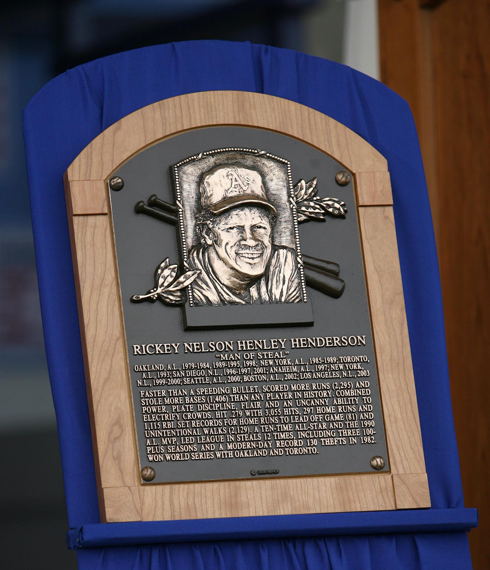 Oakland A's Rickey Henderson plaque is shown during the National Baseball Hall of Fame induction ceremony at the Clark Sports Center on Sunday, July 26, 2009, in Cooperstown, N.Y. Both Henderson and Boston Red Sox Jim Rice were inducted. (Jane Tyska/Staf
