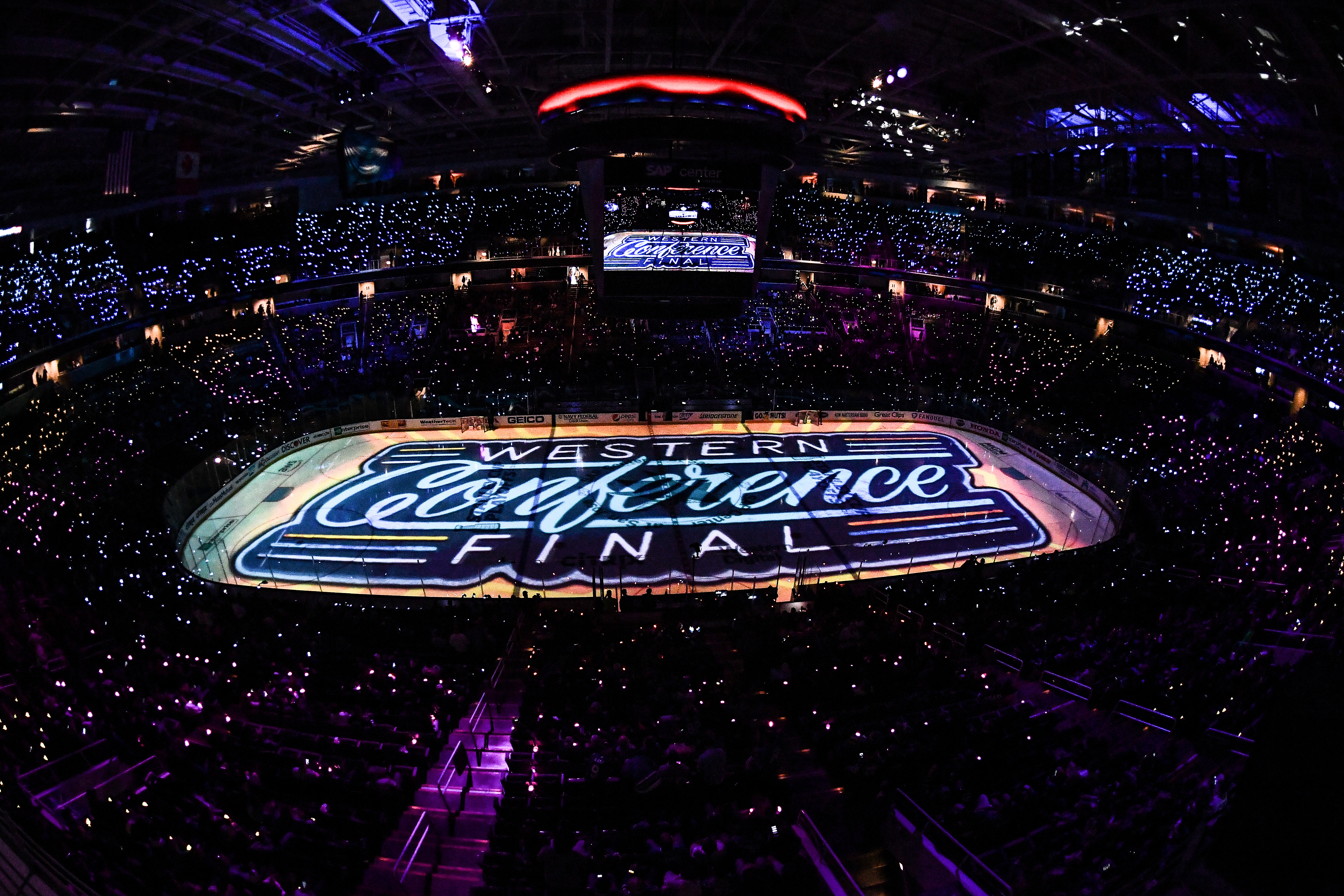 SAN JOSE, CA - MAY 13: The San Jose Sharks pregame lights show against the St. Louis Blues in Game Two of the Western Conference Final during the 2019 NHL Stanley Cup Playoffs at SAP Center on May 13, 2019 in San Jose, California