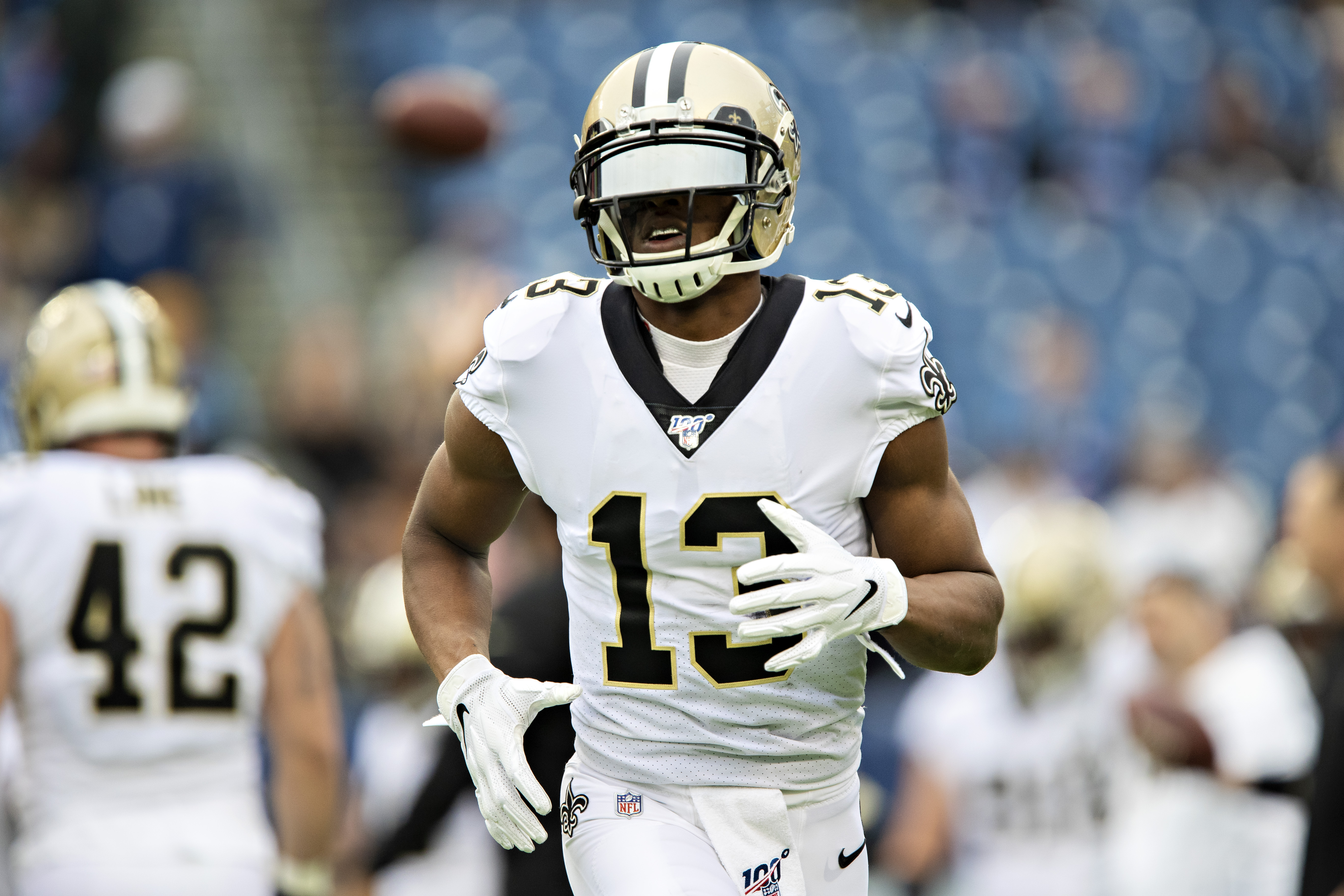 Michael Thomas #13 of the New Orleans Saints warms up before a game against the Tennessee Titans at Nissan Stadium on December 22, 2019 in Nashville, Tennessee. The Saints defeated the Titans 38-28.