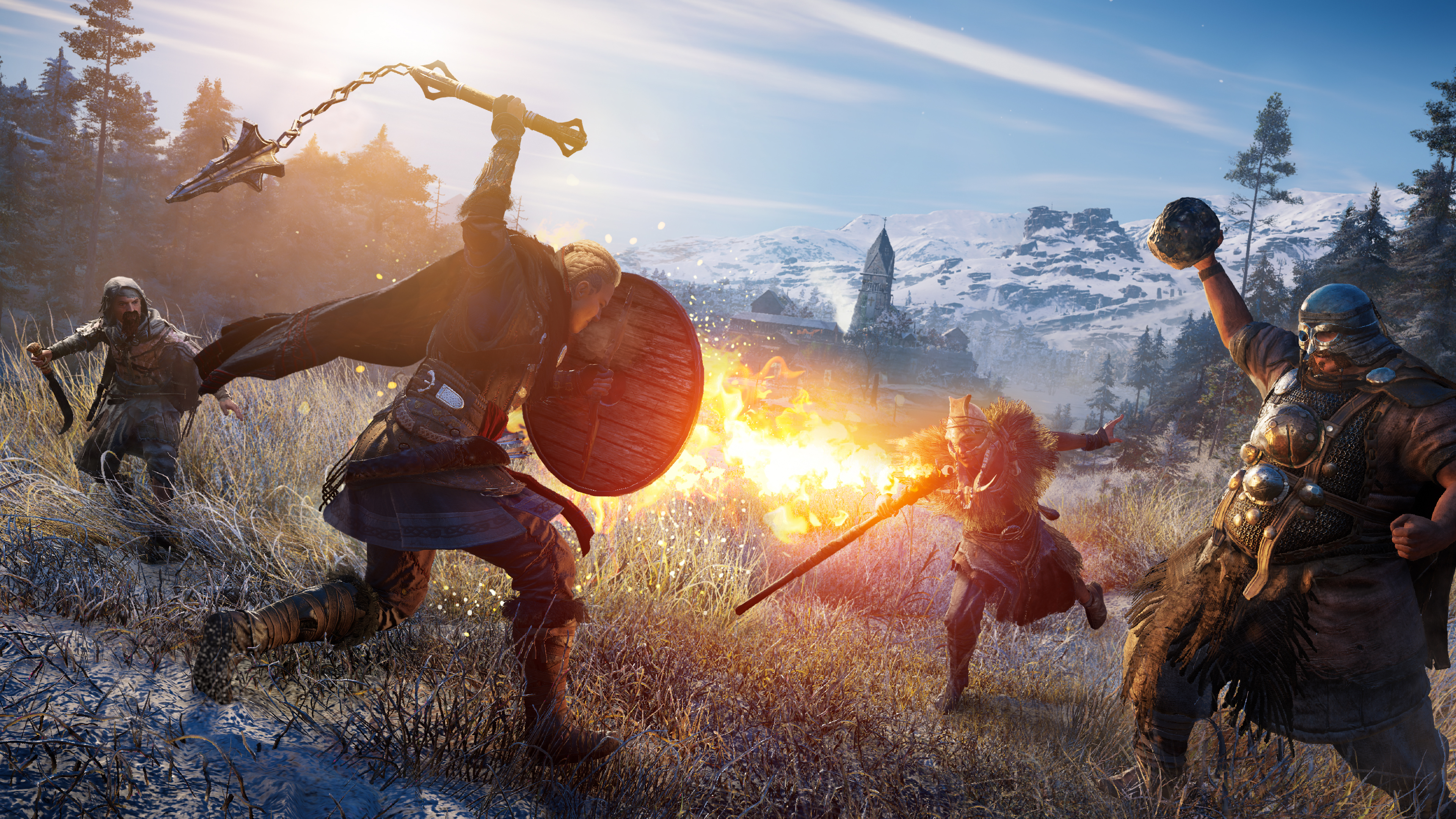 Eivor fighting some well-armored enemies in a frosty landscape in Assassin's Creed Valhalla