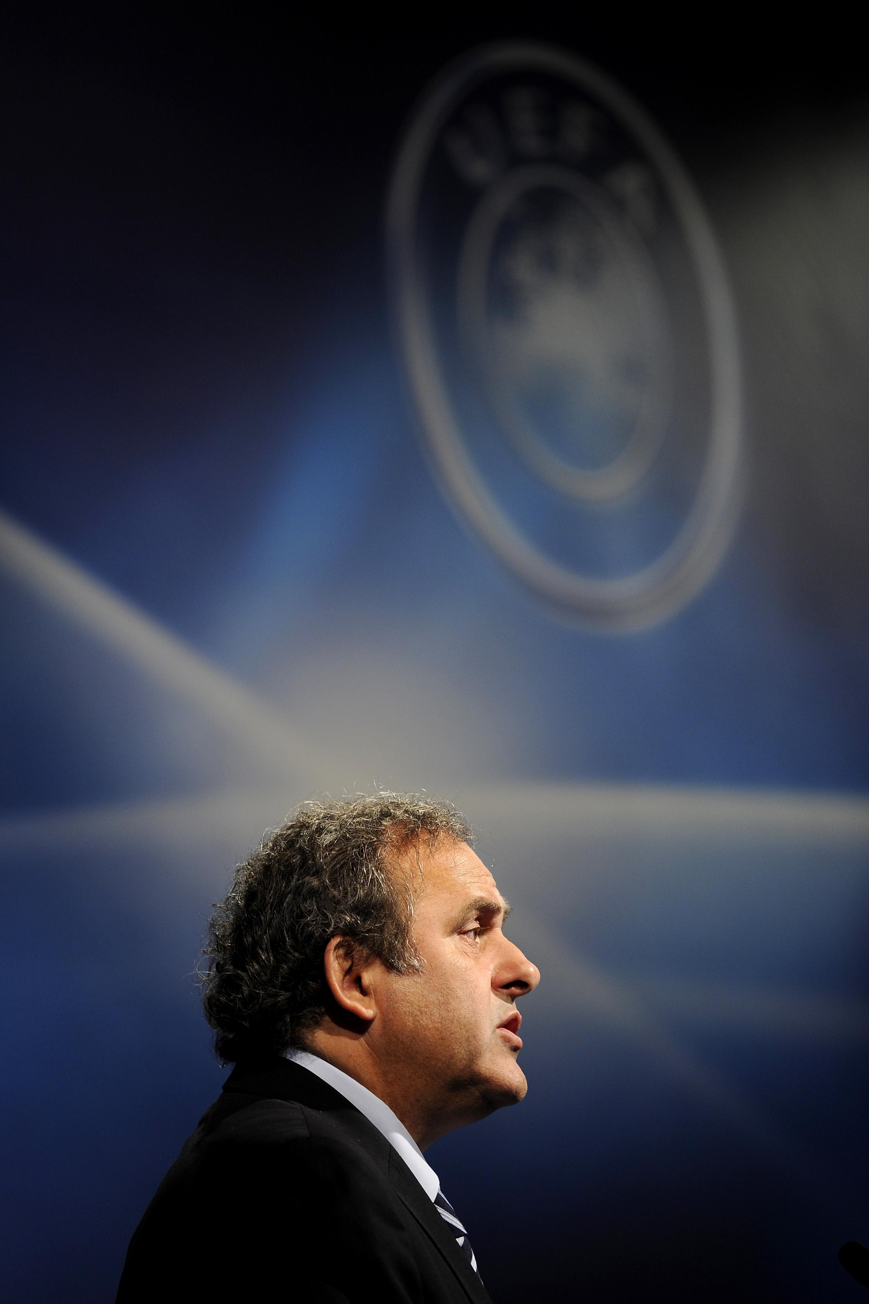 UEFA president Michel Platini speaks dur
