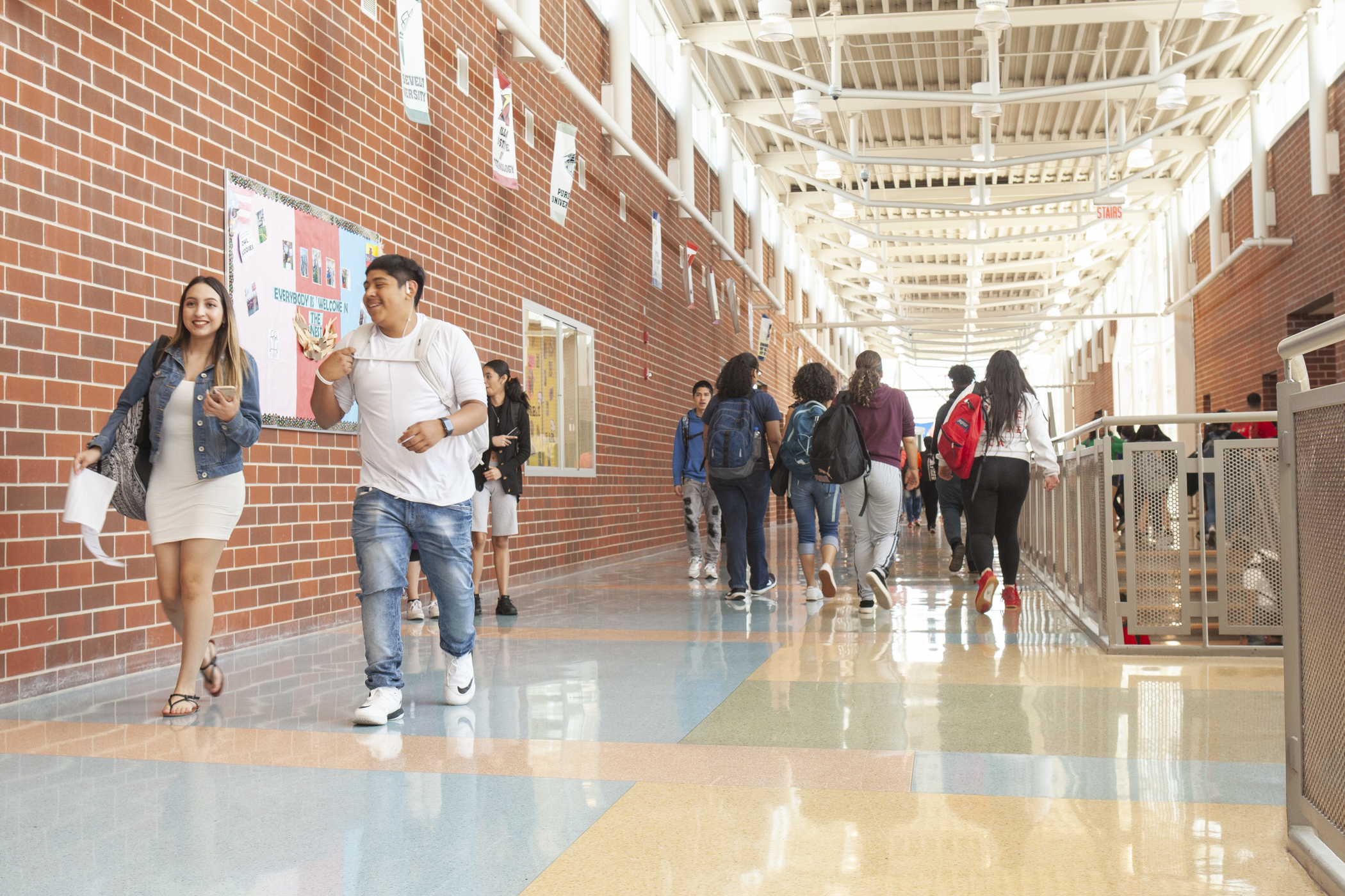 Students in the hallways May 2019 at North-Grand High School in Chicago.