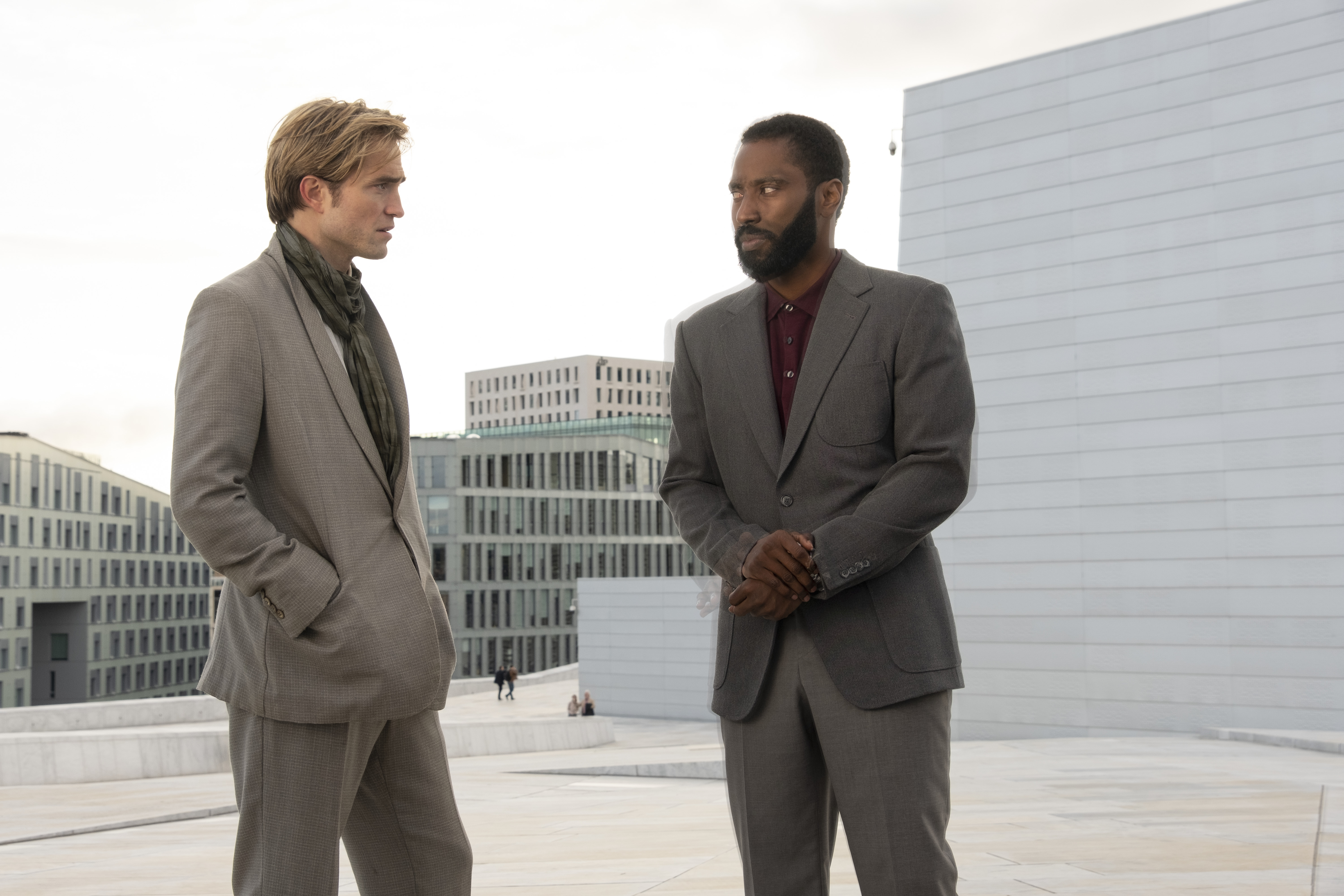 """L-r) ROBERT PATTINSON and JOHN DAVID WASHINGTON in Warner Bros. Pictures' action epic """"TENET,"""" a Warner Bros. Pictures release."""