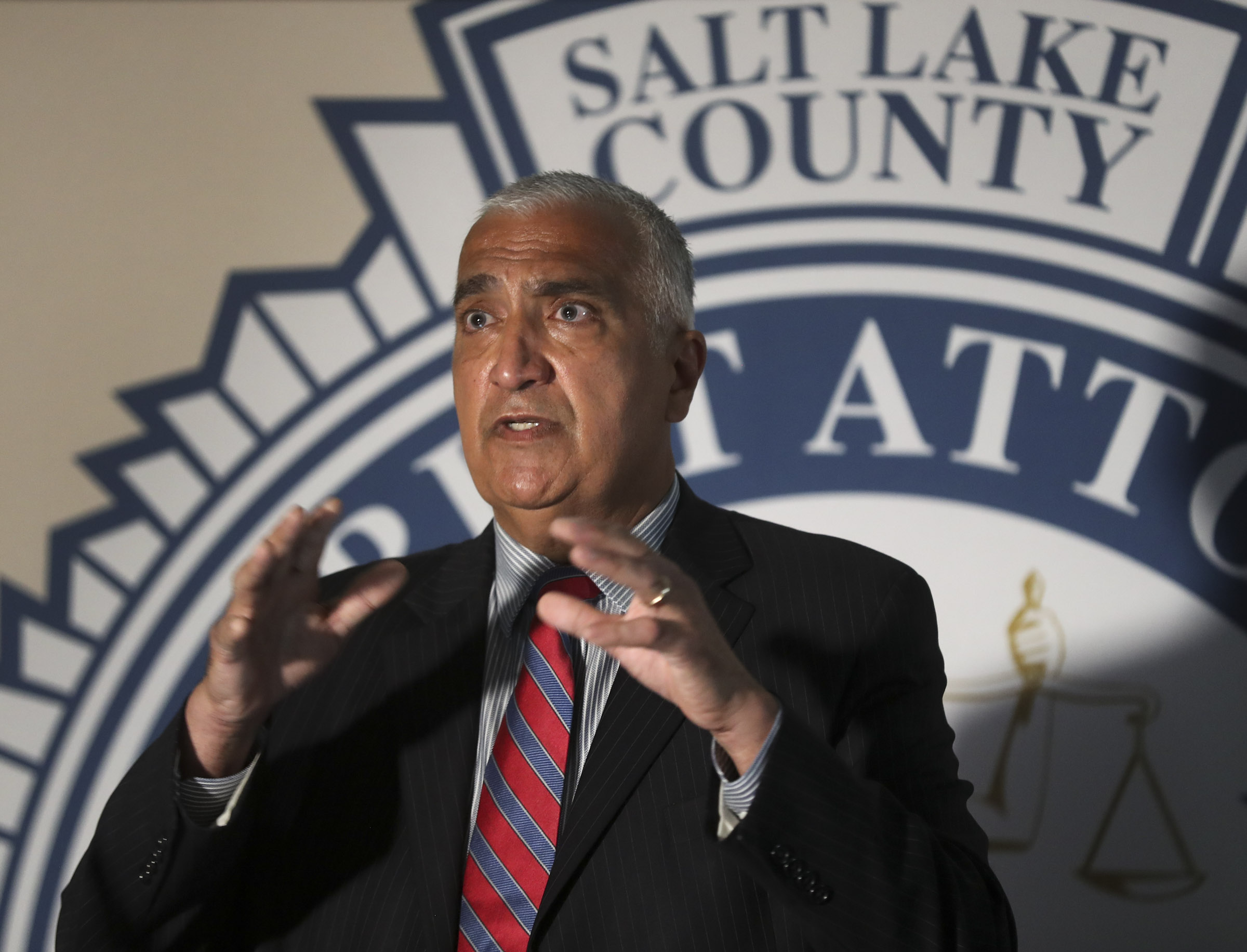 Salt Lake County District Attorney Sim Gill talks about the May 23 officer-involved shooting of Bernardo Palacios-Carbajal during a press conference at the district attorney office building in Salt Lake City on Thursday, July 9, 2020. Gill said the officer's use of deadly force was justified.