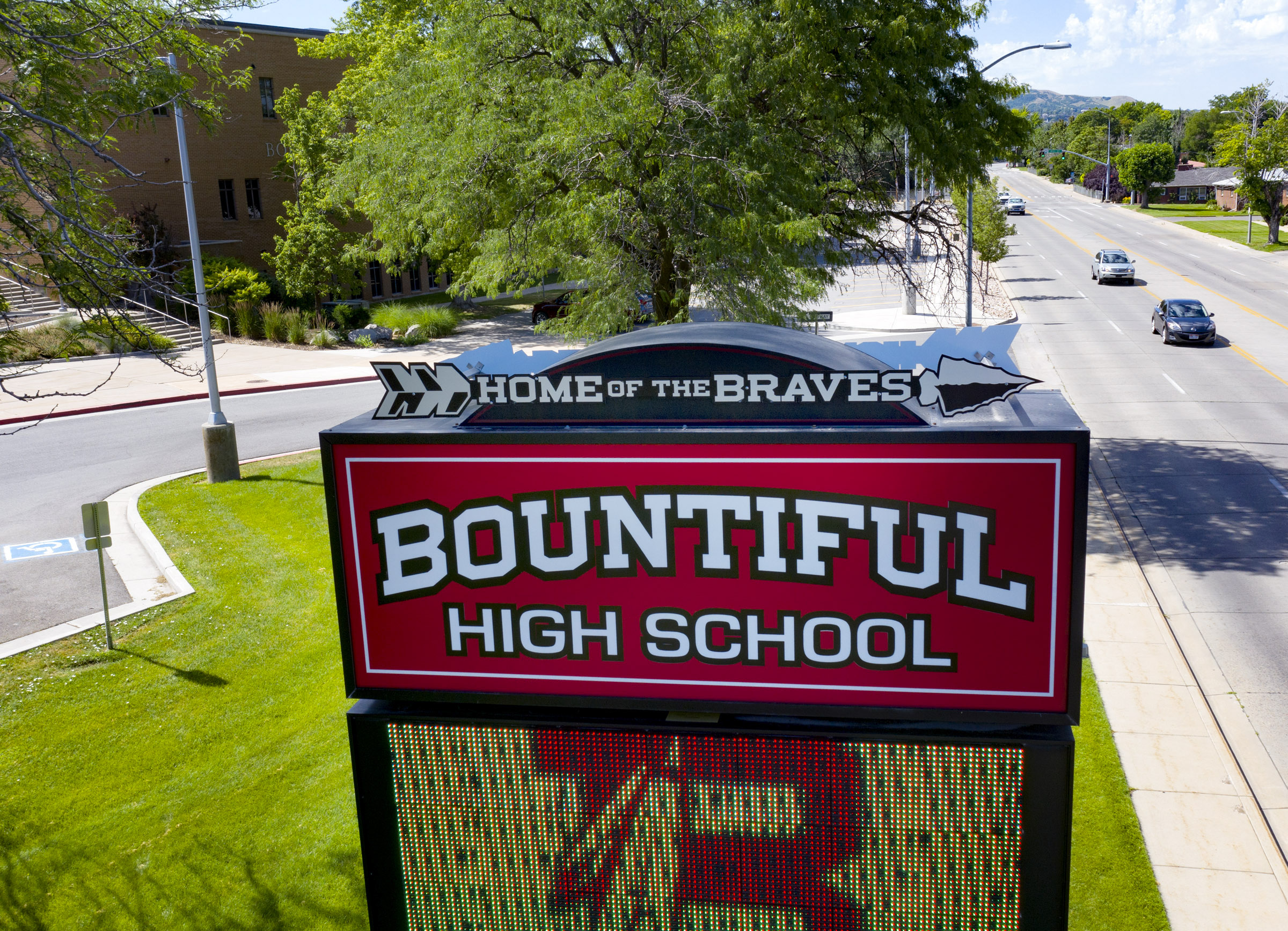 The marquee at Bountiful High School in Bountiful is pictured on Monday, July 13, 2020.