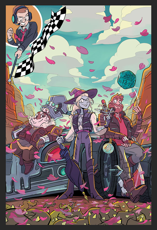 The cover for The Adventure Zone: Petals to the Metal. Merle, Taako, and Magnus are posing in front of a battlewagon. Merle has the adamant spanner on one shoulder, sitting on the hood. Magnus is leaning against the door, tossing a d20. Taako is twirling a ring of keys around his finger. Griffin is in the top left corner, waving a checkered flag. Listed at the bottom are the names of the authors and illustrator: Clint McElroy, Griffin McElroy, Justin McElroy, Travis McElroy, and Carey Pietsch.