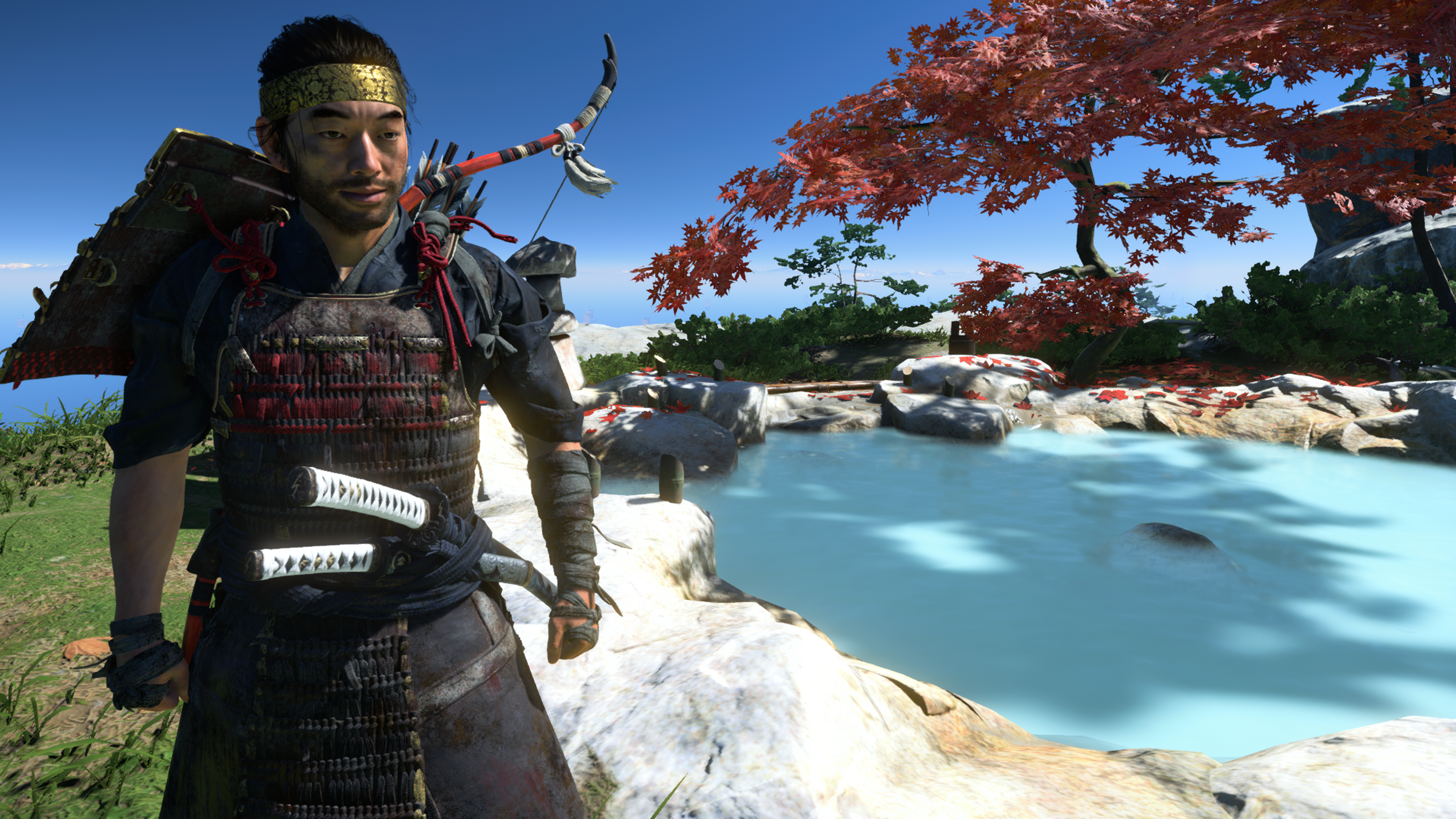 Jin stands next to a hot spring in Ghost of Tsushima beginner's guide