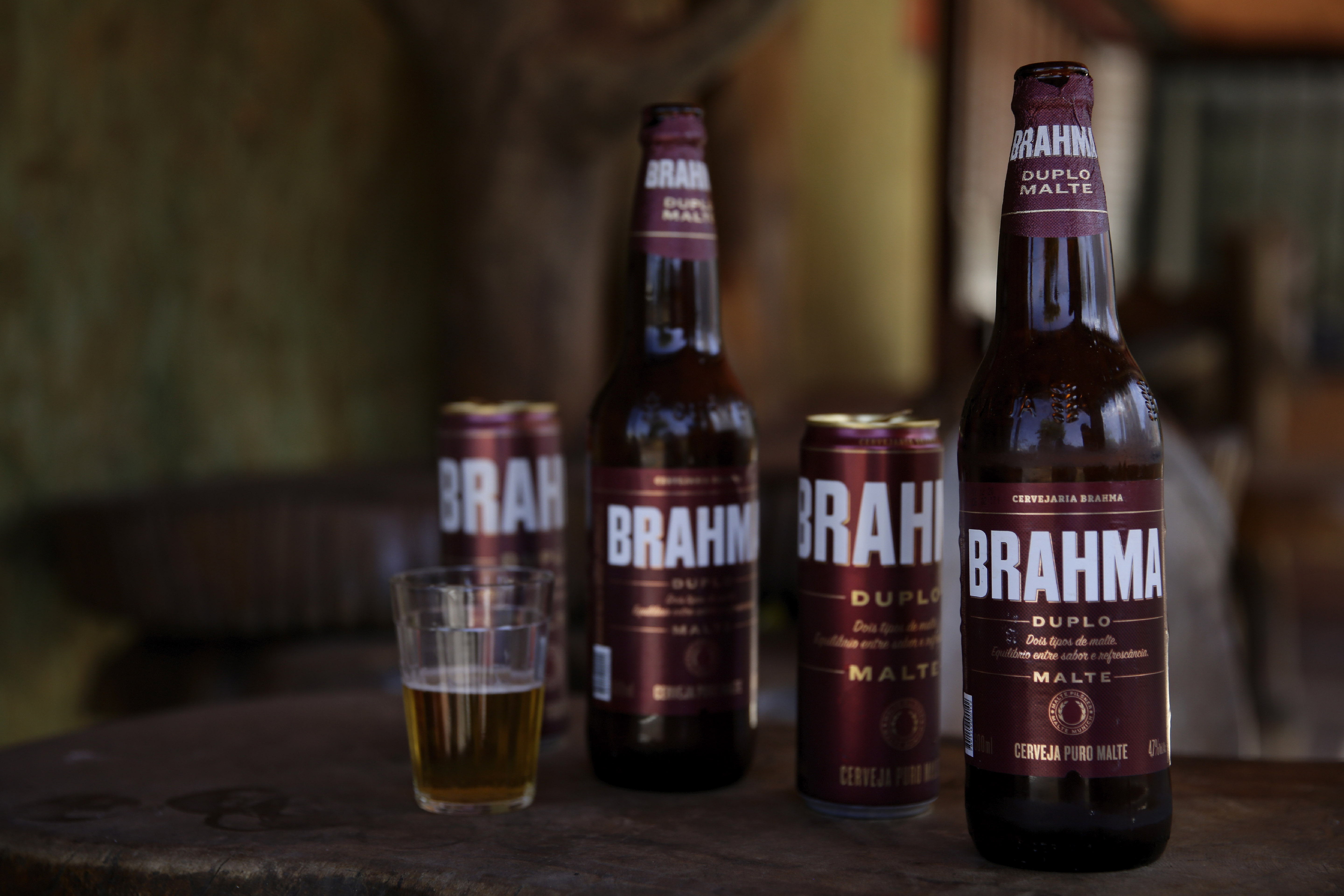 Brahma beer is displayed at a bar that's open for deliveries only amid the COVID-19 pandemic in Brasilia, Brazil.