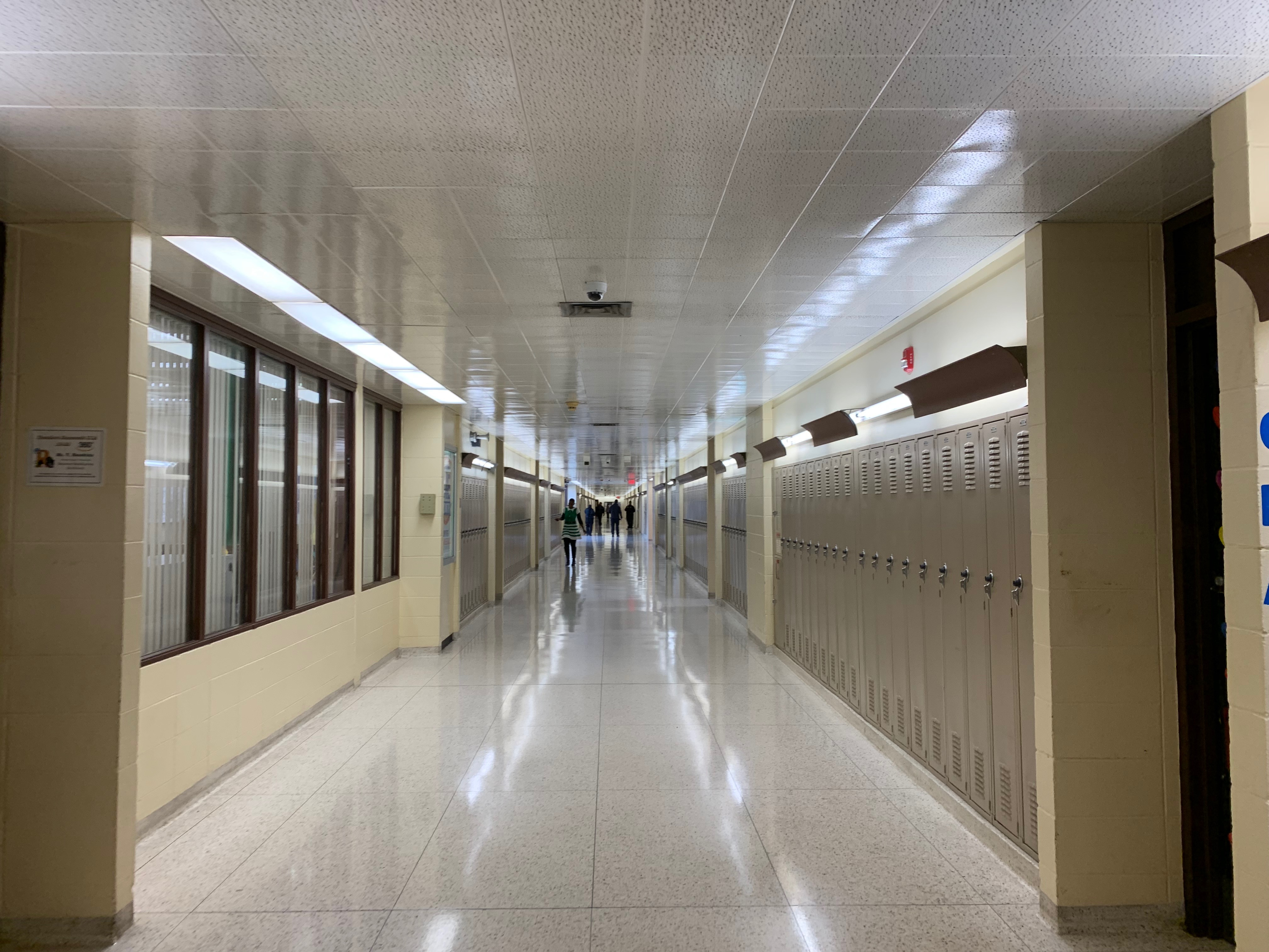 A long, empty hallway in Gary Area Career Center.