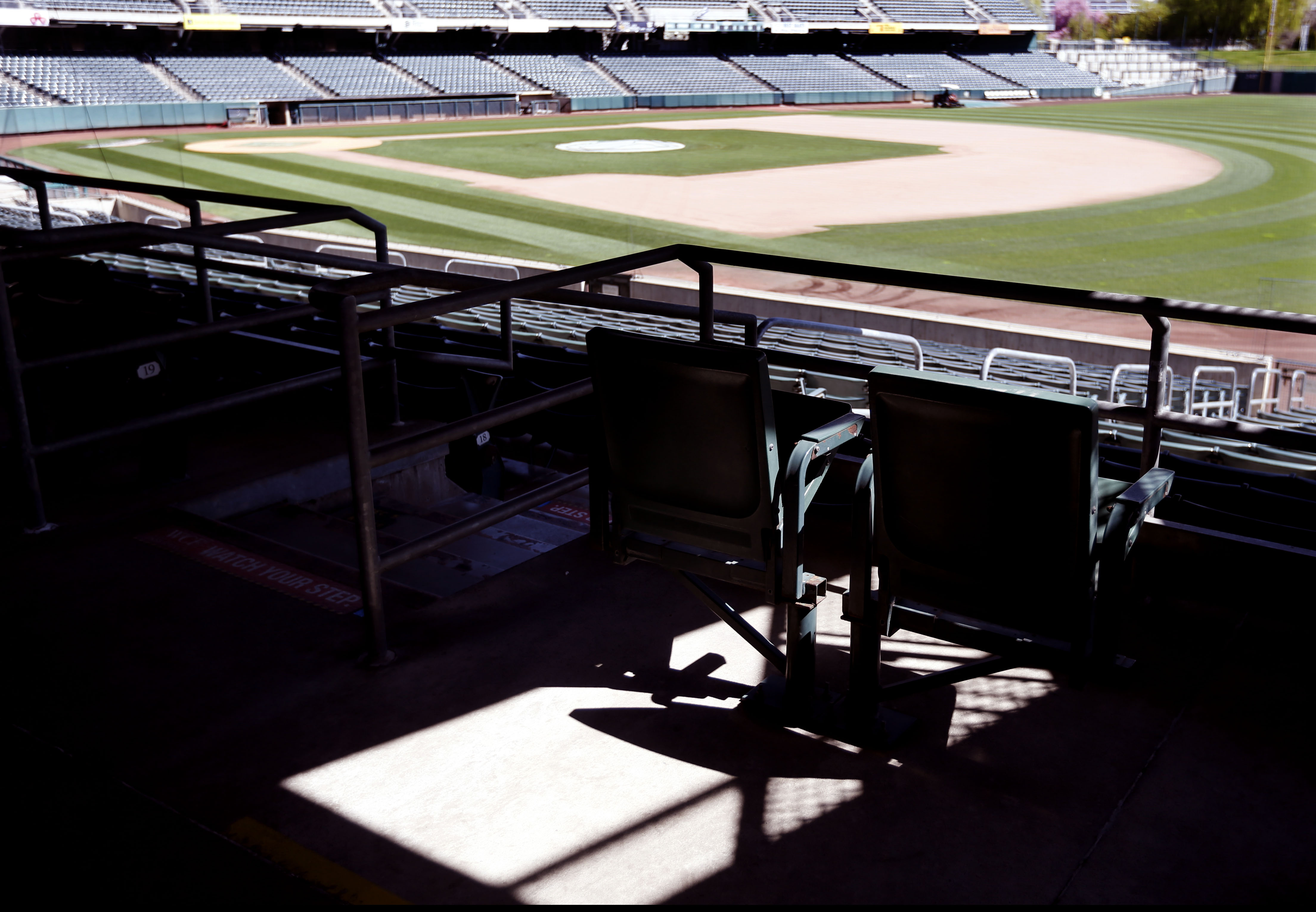 Smith's Ballpark is empty in Salt Lake City on Wednesday, April 8, 2020.