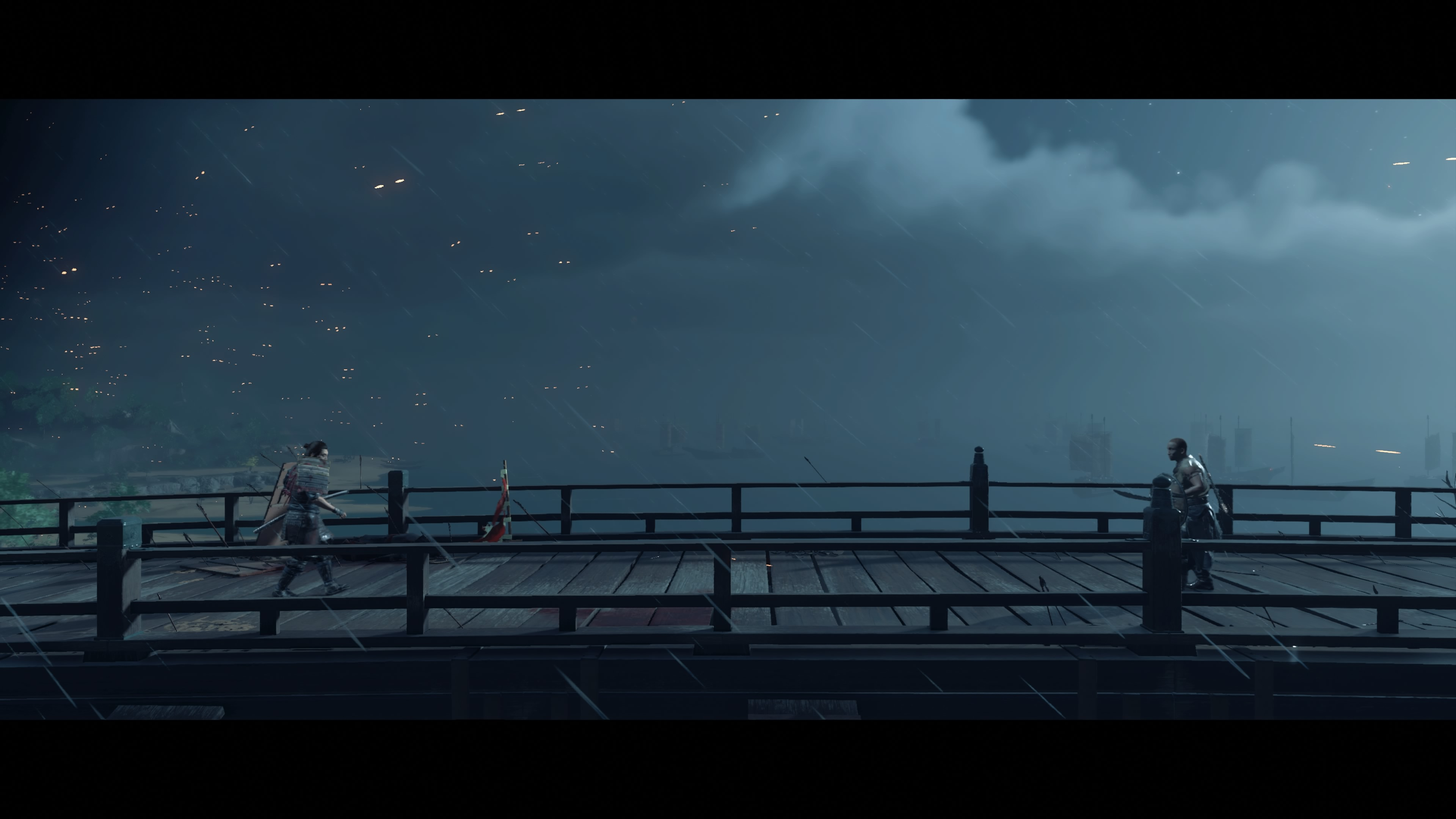 Two characters walk towards one another on a bridge in Ghost of Tsushima