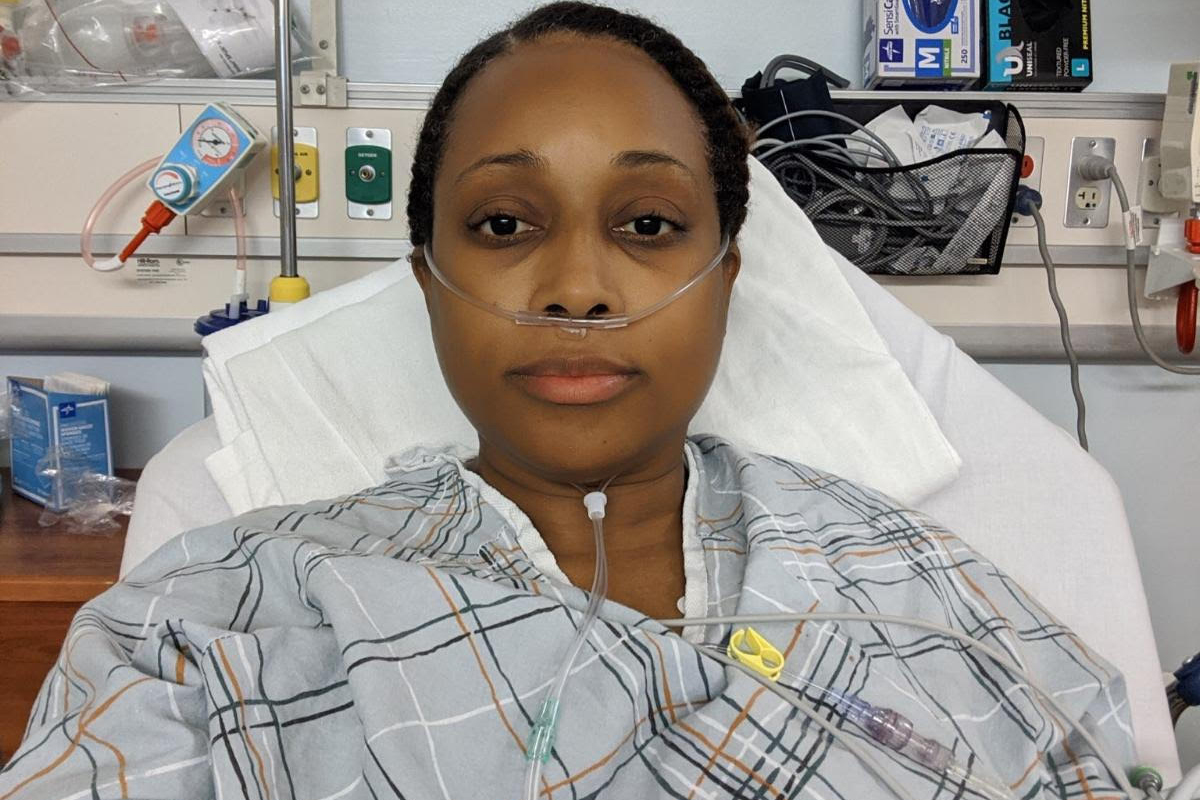 Doctor Tartania Brown received hospital treatment for sickle cell anemia, July 10, 2020.