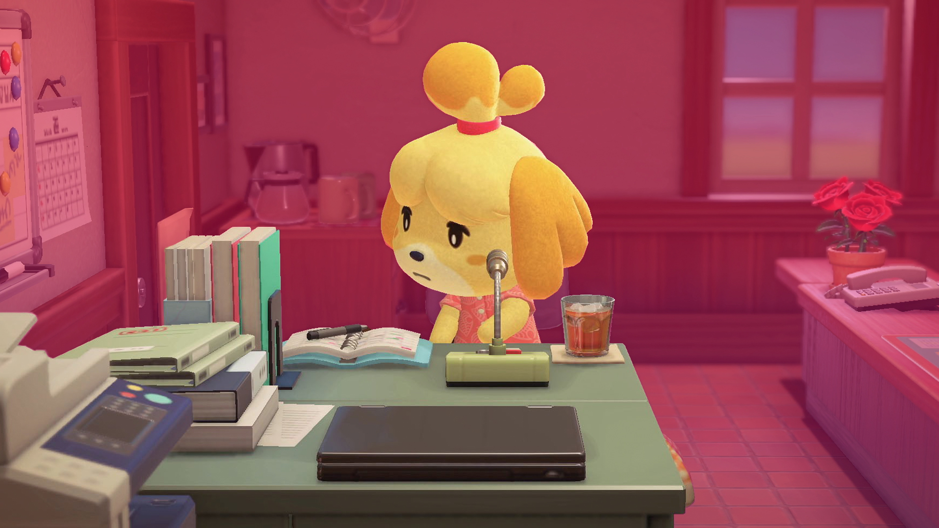 Isabelle, a character from Animal Crossing sits working at a desk, with a pink/purple treatment on the background